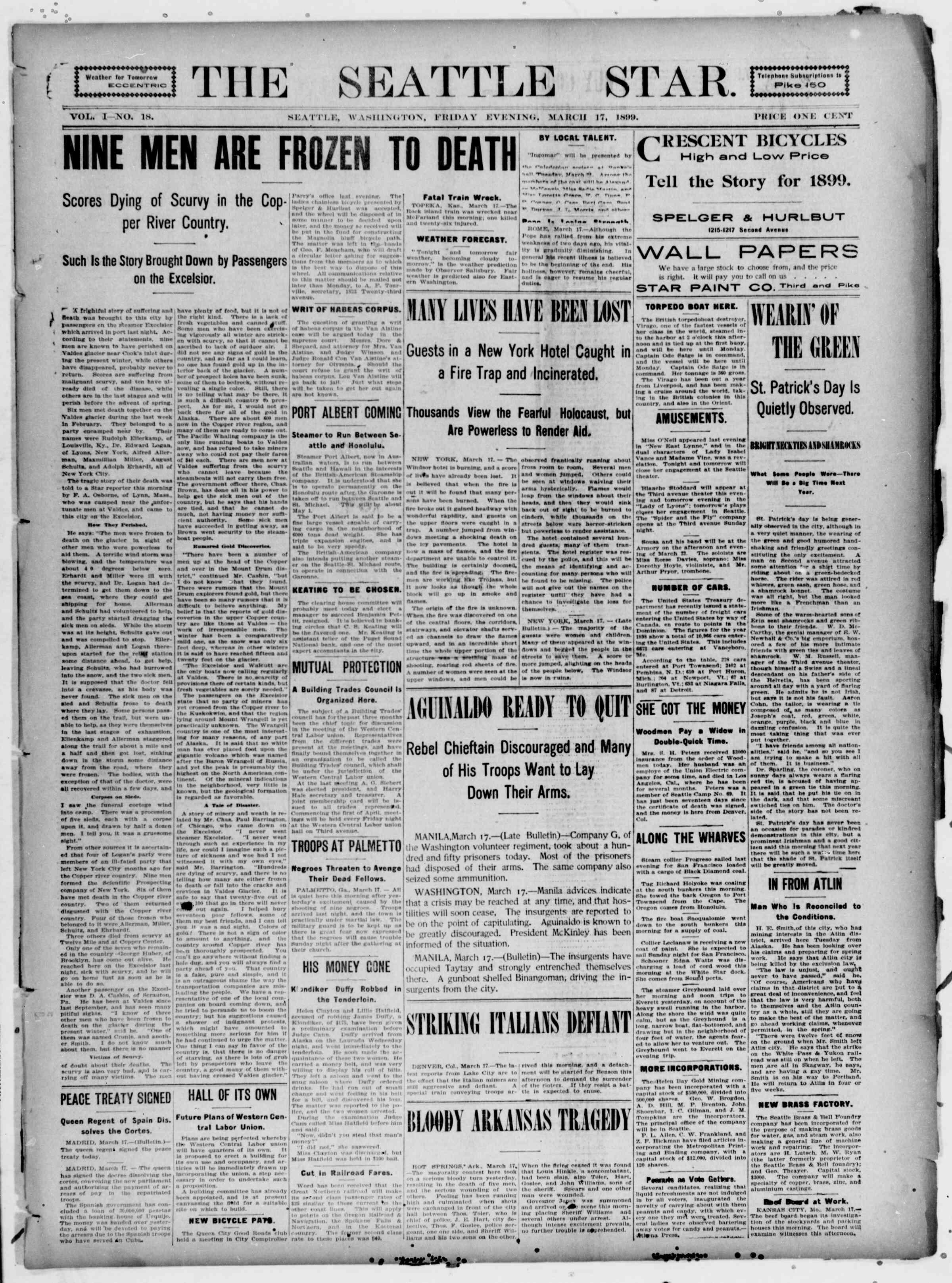 17 Mart 1899 Tarihli Seattle Star Gazetesi Sayfa 1