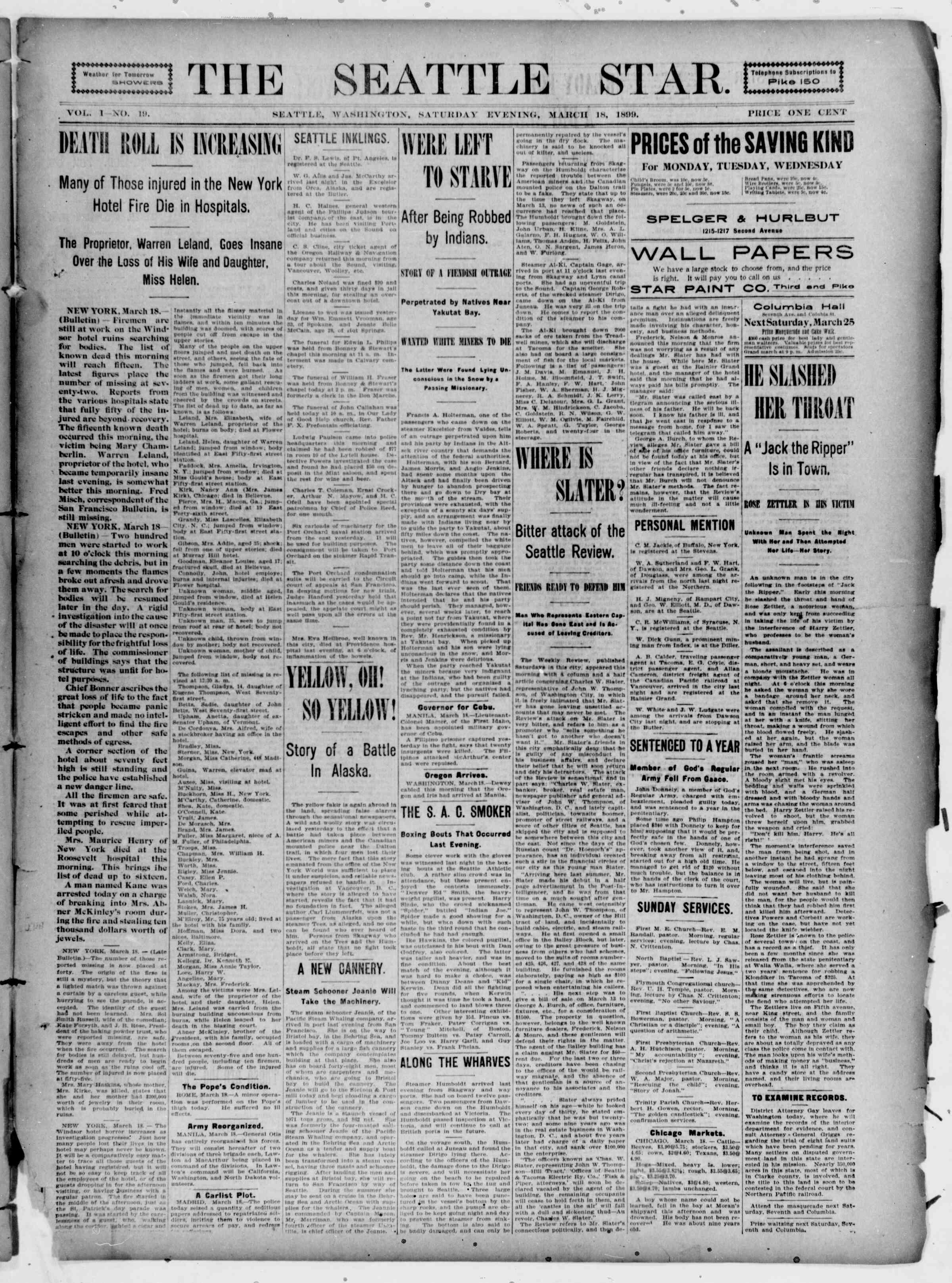 18 Mart 1899 Tarihli Seattle Star Gazetesi Sayfa 1