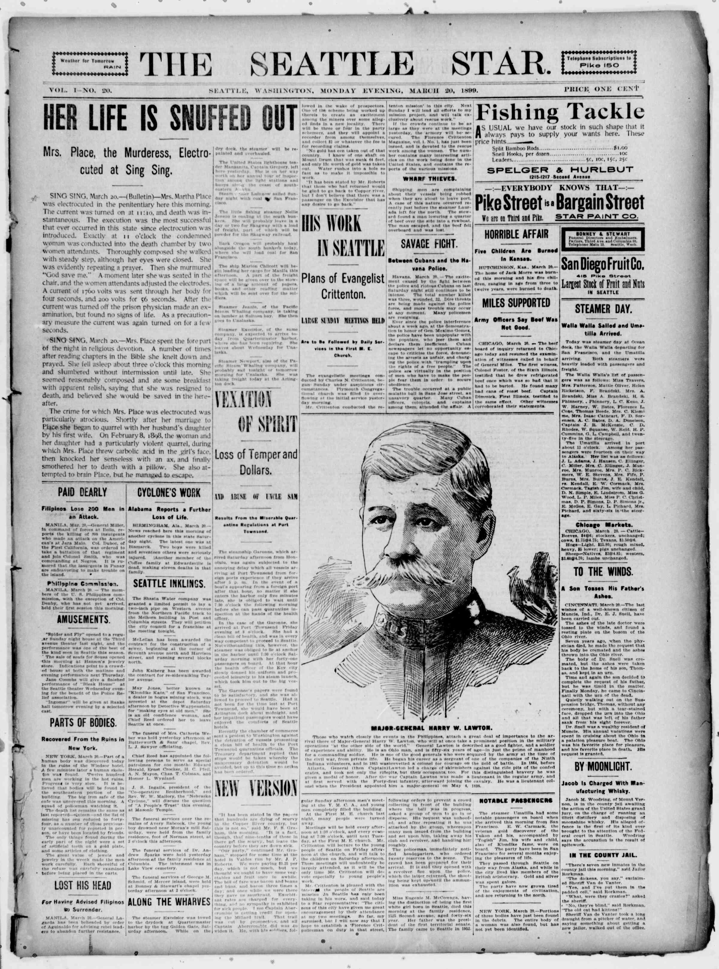 20 Mart 1899 Tarihli Seattle Star Gazetesi Sayfa 1