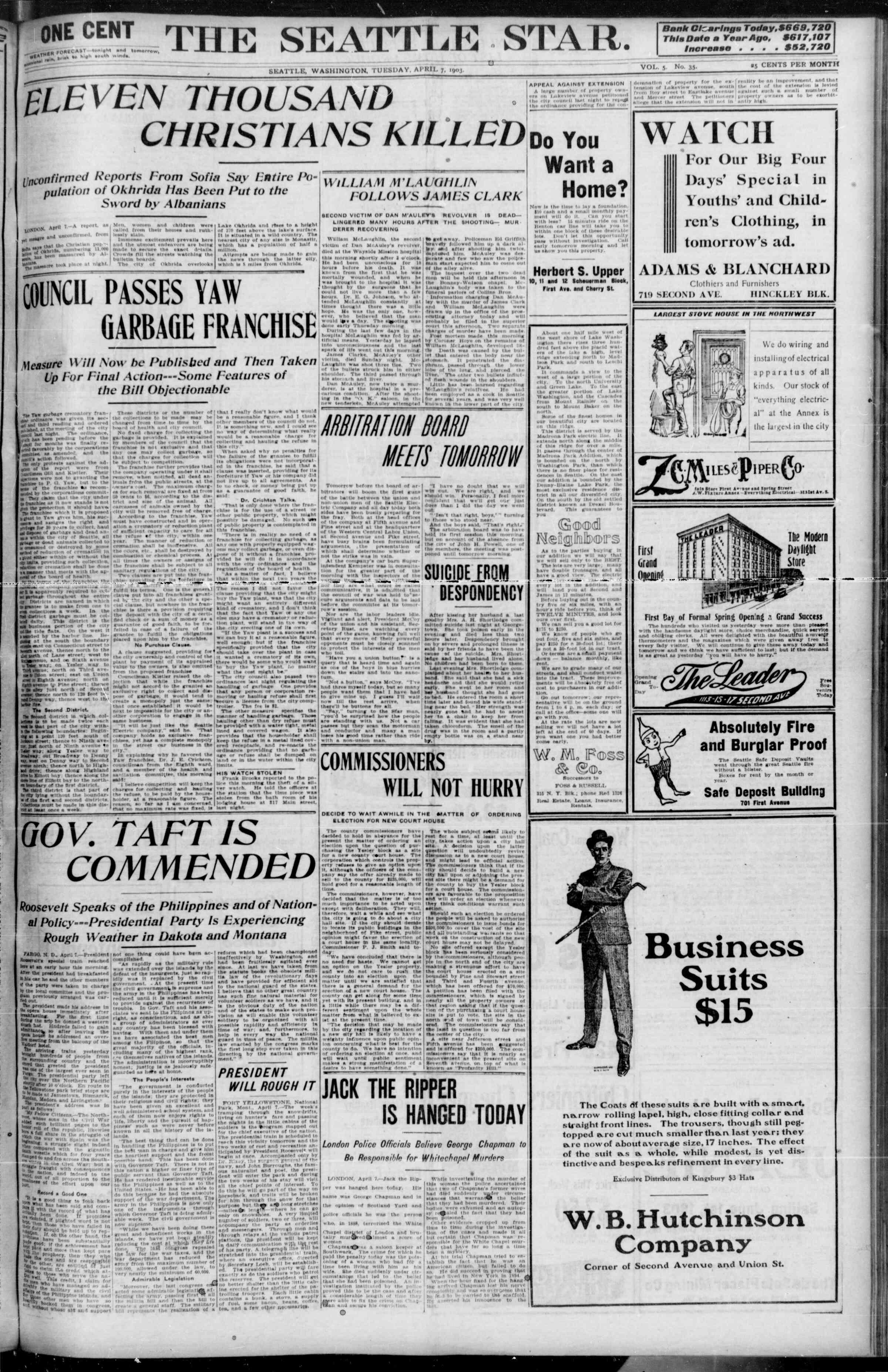 7 Nisan 1903 Tarihli Seattle Star Gazetesi Sayfa 1