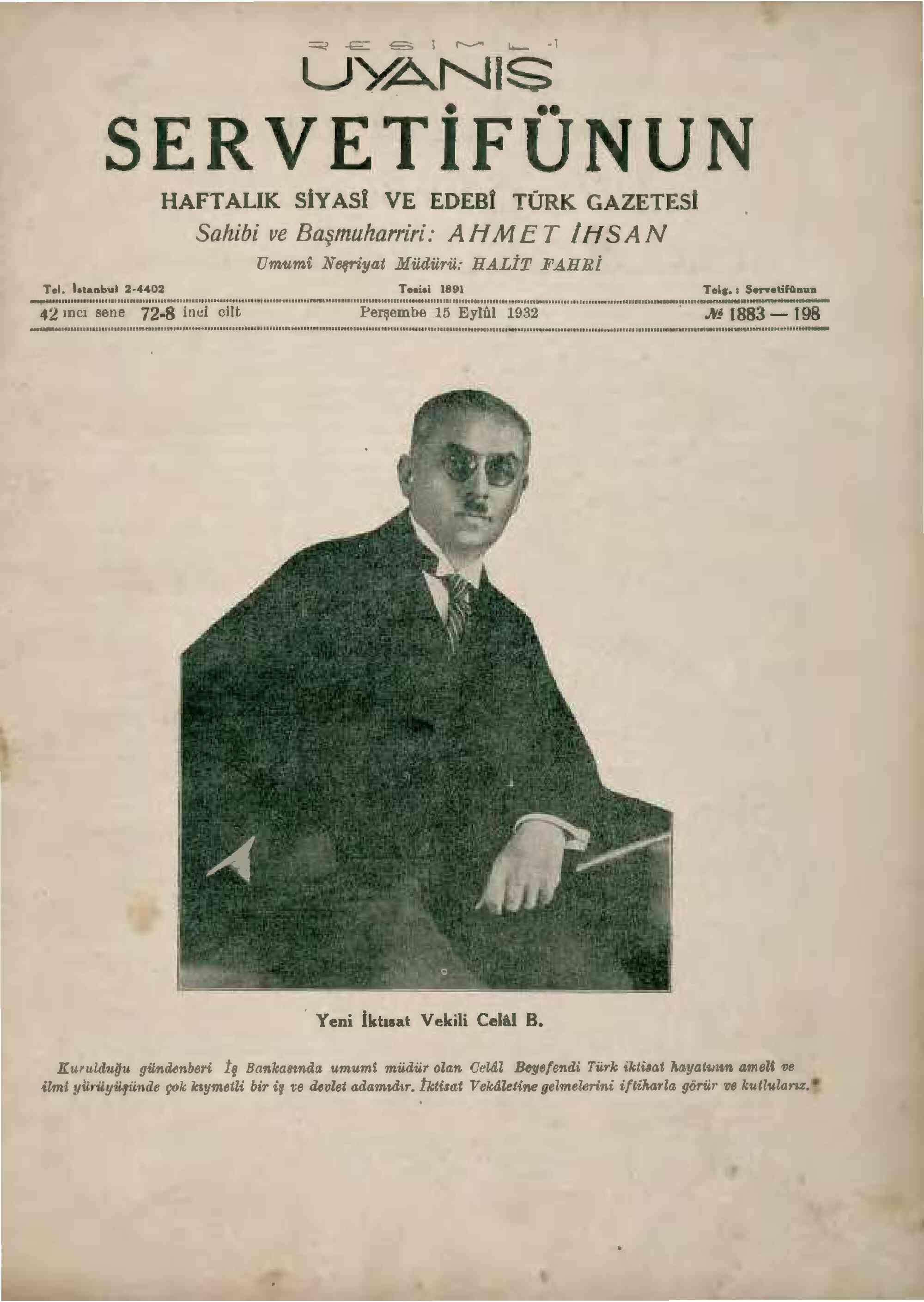 15 Eylül 1932 Tarihli Servetifunun (Uyanış) Dergisi Sayfa 1