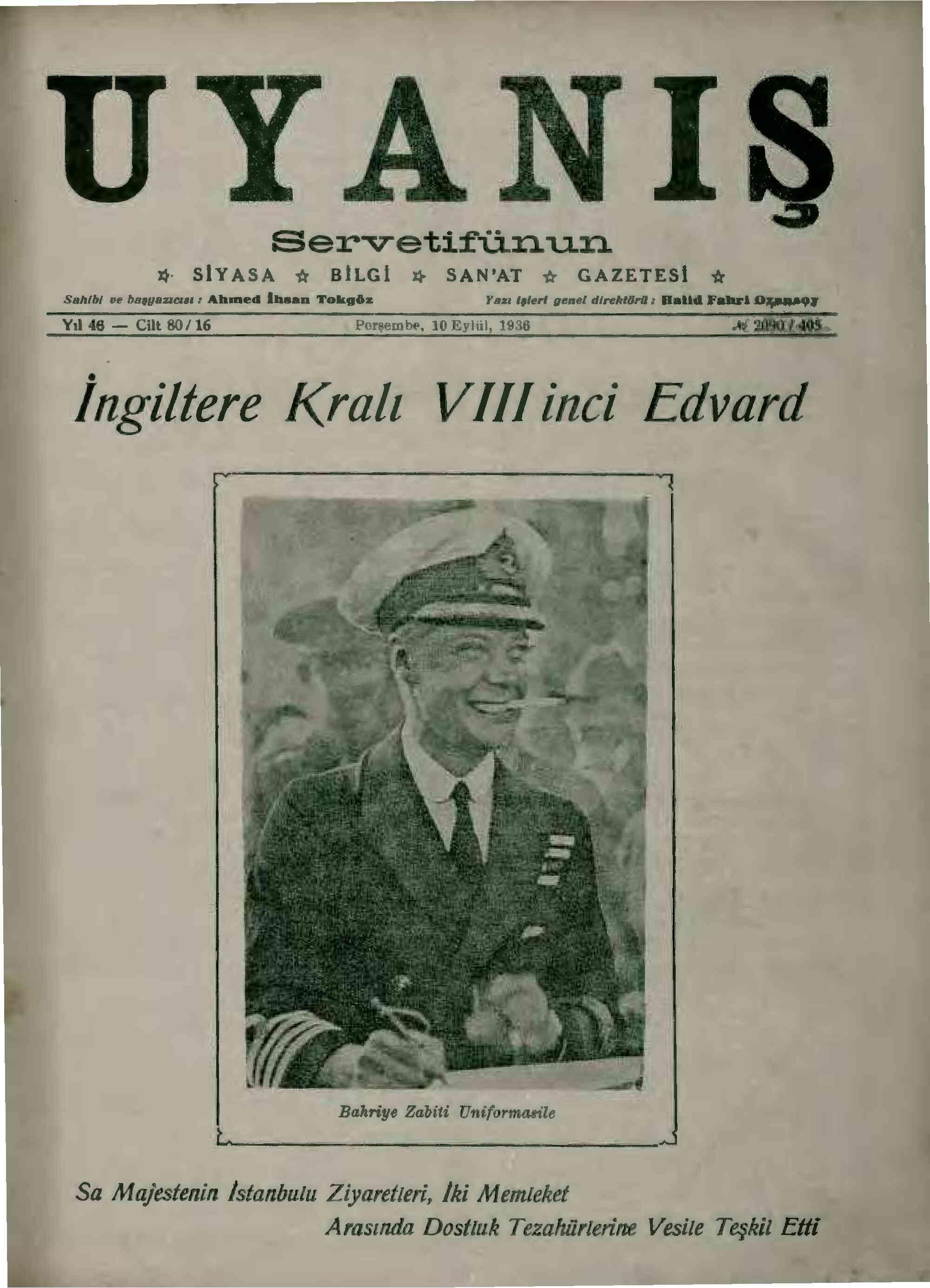 10 Eylül 1936 Tarihli Servetifunun (Uyanış) Dergisi Sayfa 1