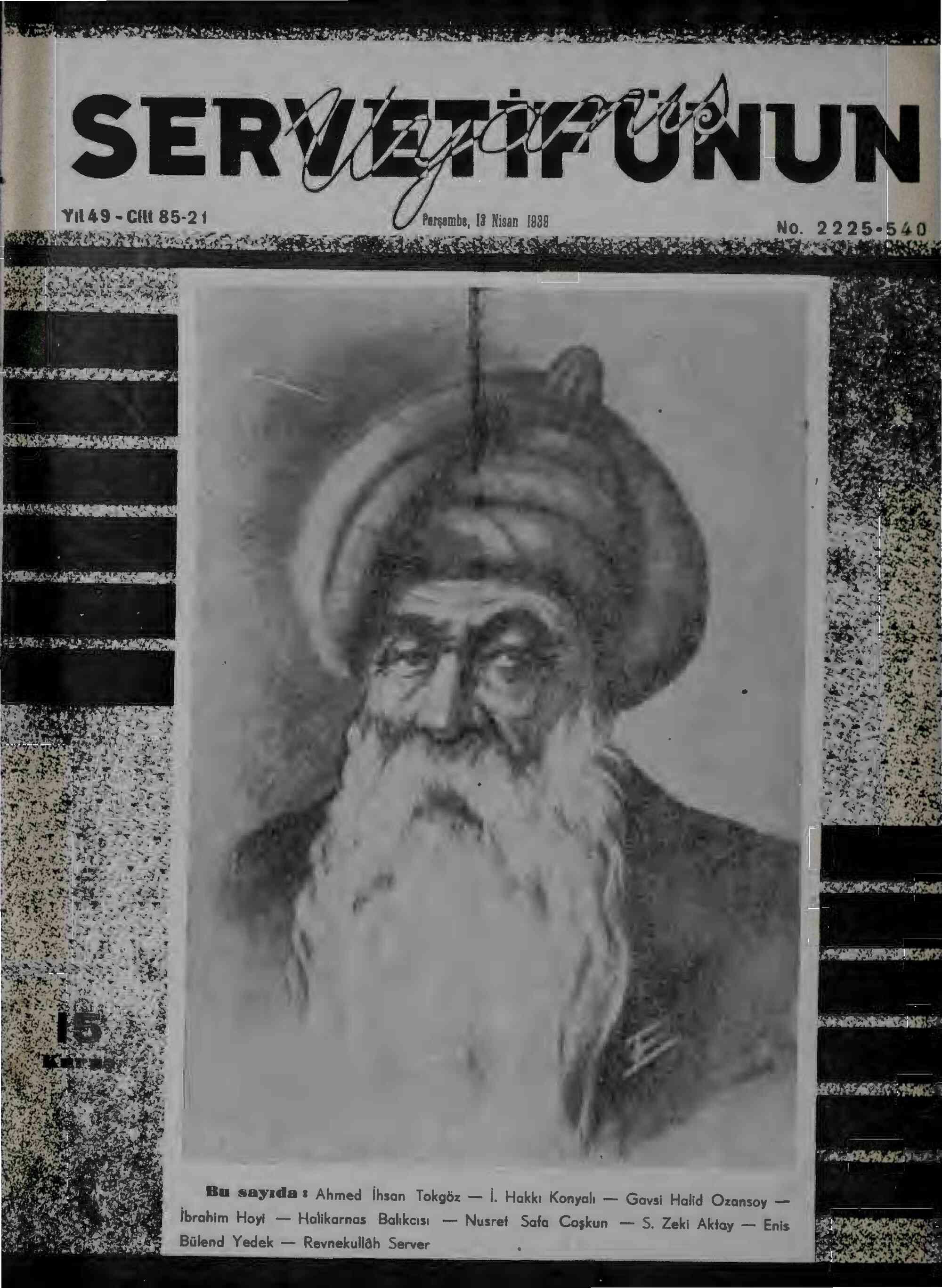 13 Nisan 1939 Tarihli Servetifunun (Uyanış) Dergisi Sayfa 1