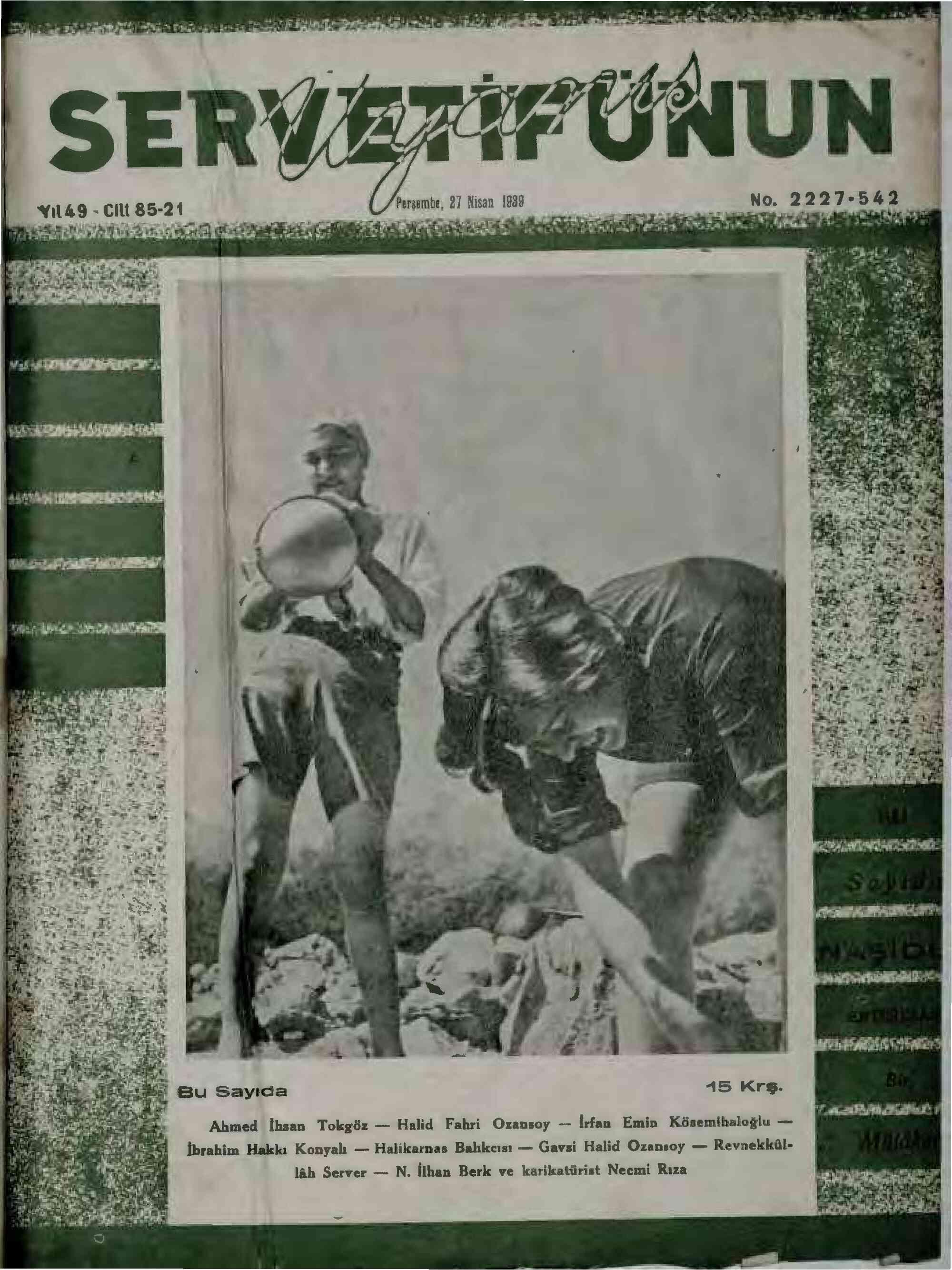 27 Nisan 1939 Tarihli Servetifunun (Uyanış) Dergisi Sayfa 1