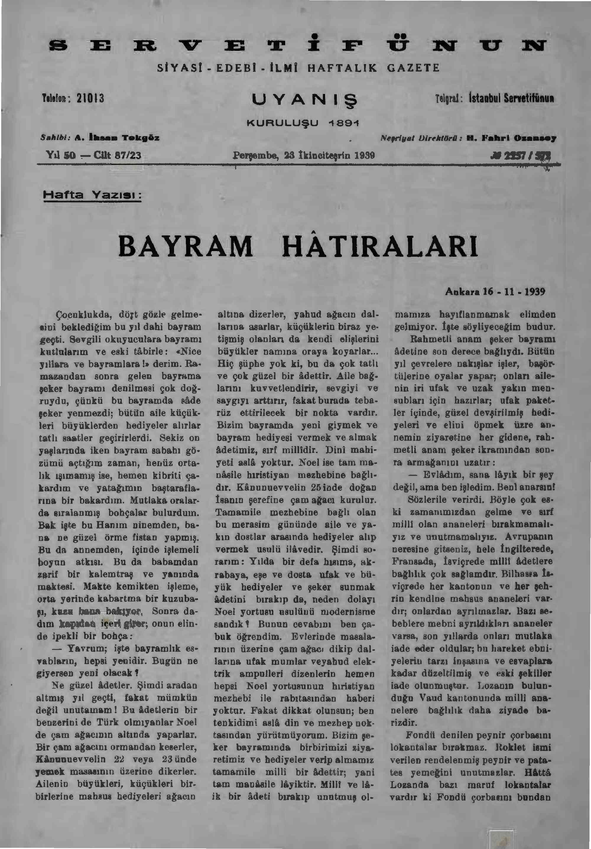 23 Kasım 1939 tarihli Servetifunun (Uyanış) Dergisi Sayfa 3
