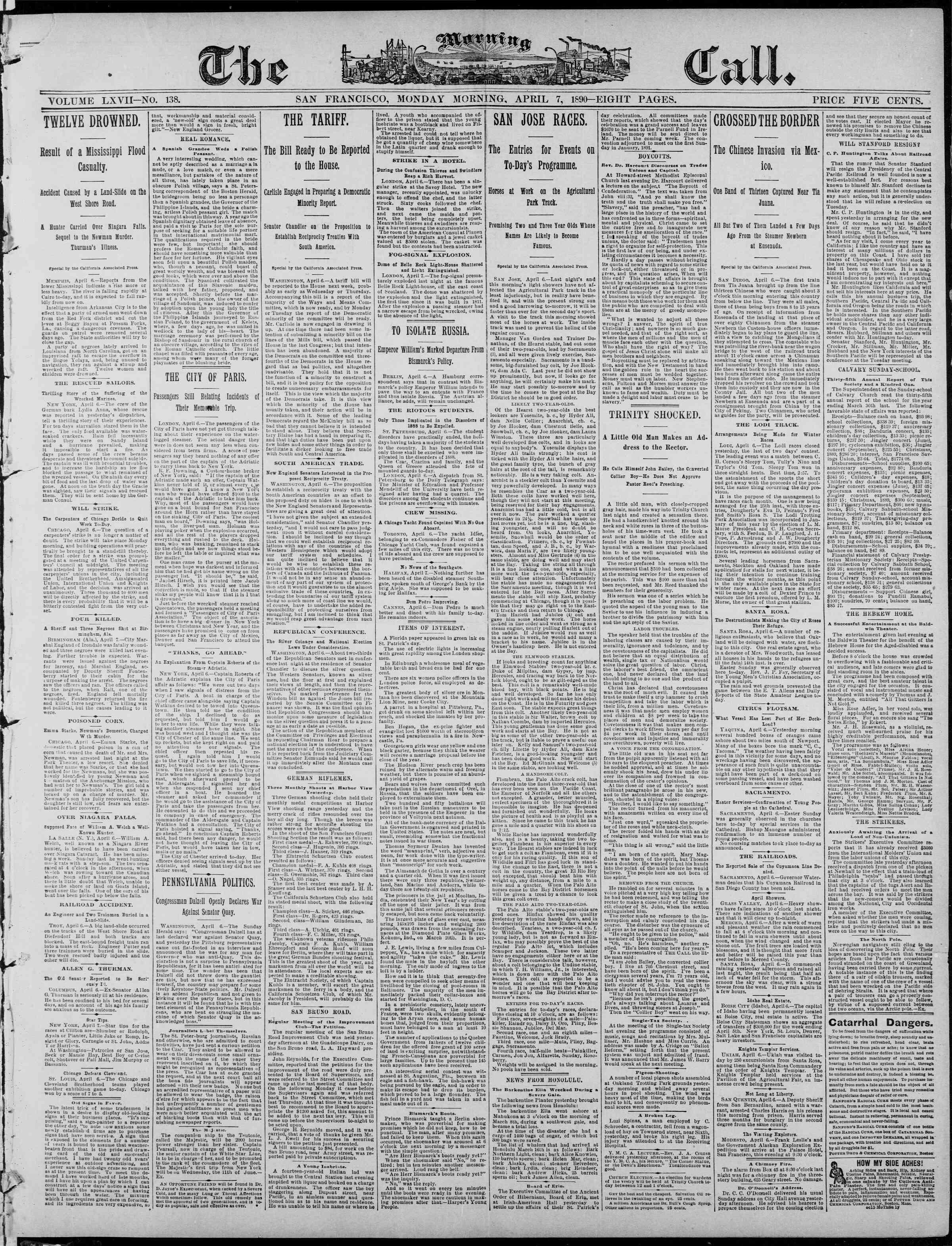 7 Nisan 1890 Tarihli The Morning Call (San Francisco) Dergisi Sayfa 1