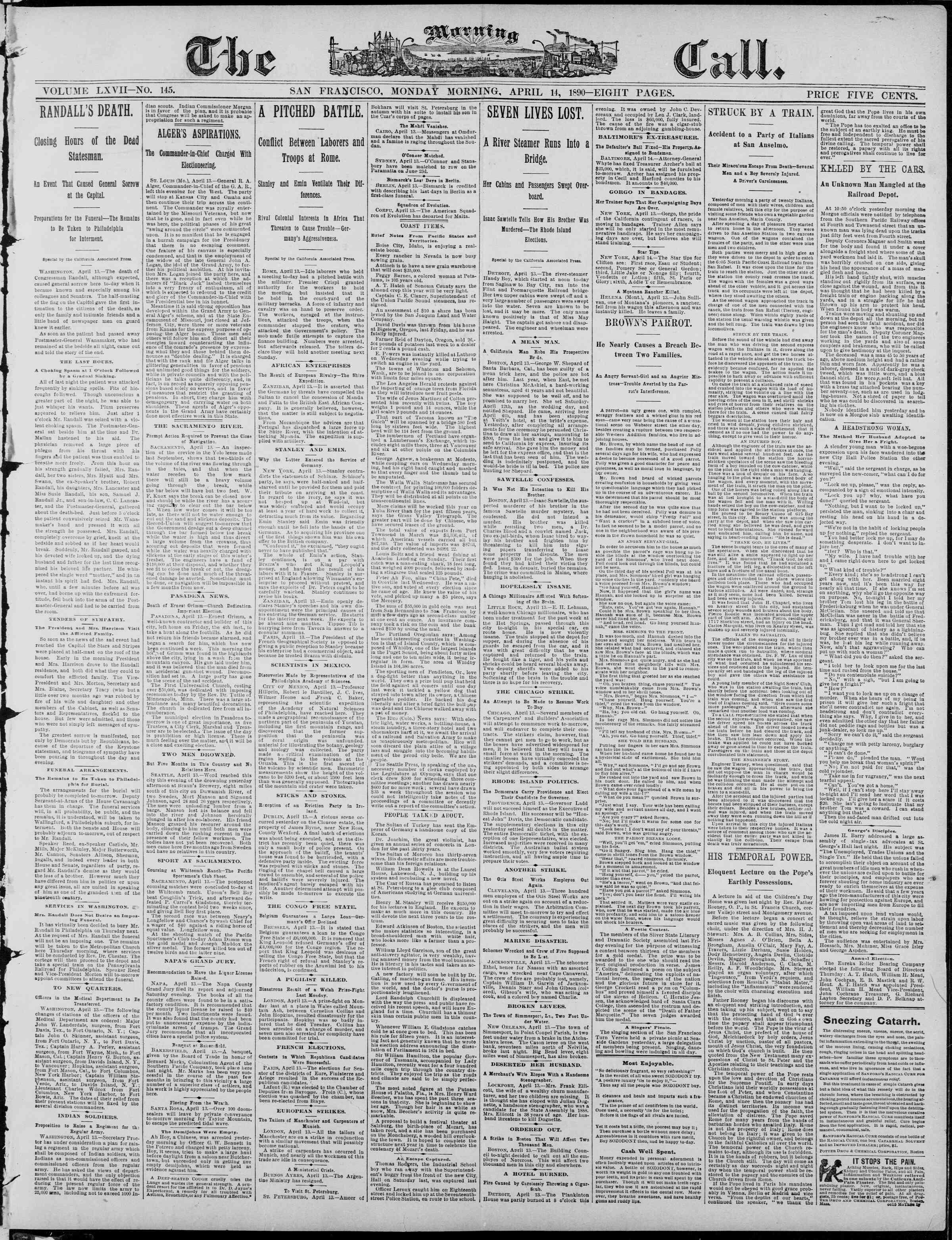 14 Nisan 1890 Tarihli The Morning Call (San Francisco) Dergisi Sayfa 1