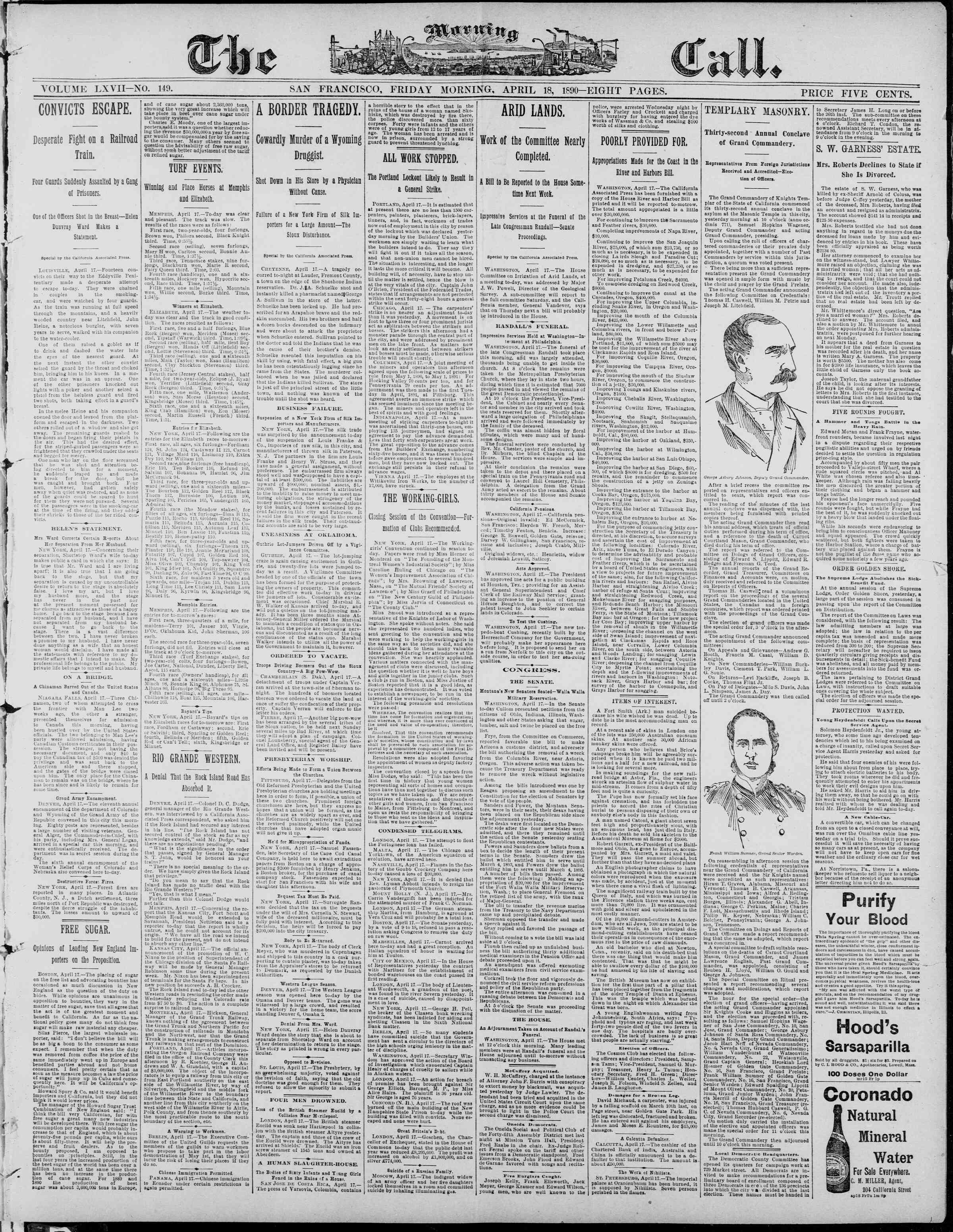 18 Nisan 1890 Tarihli The Morning Call (San Francisco) Dergisi Sayfa 1