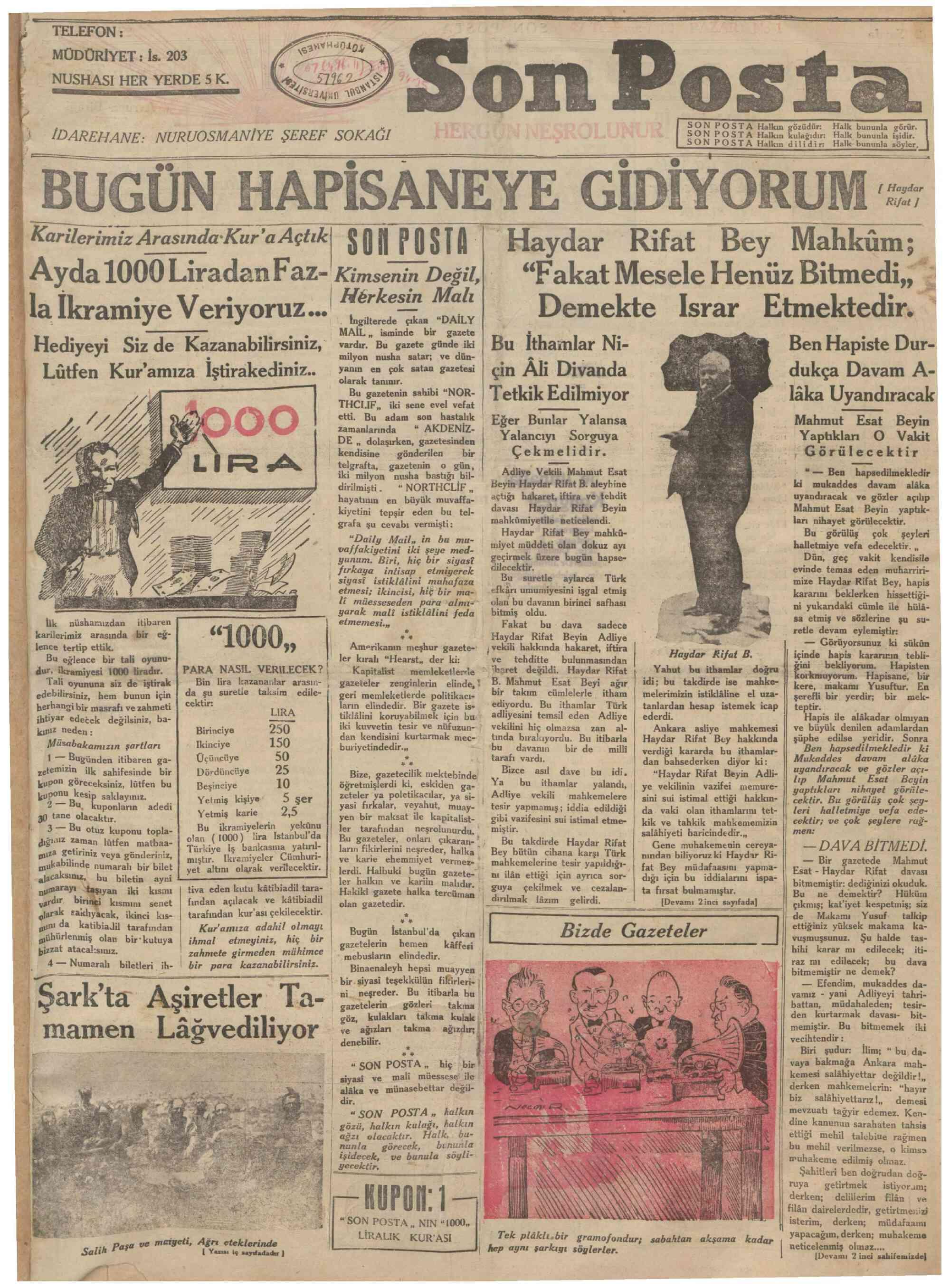 27 Temmuz 1930 Tarihli Son Posta Gazetesi Sayfa 1