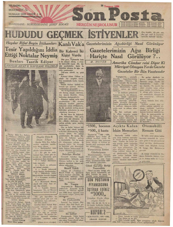 28 Temmuz 1930 Tarihli Son Posta Gazetesi Sayfa 1