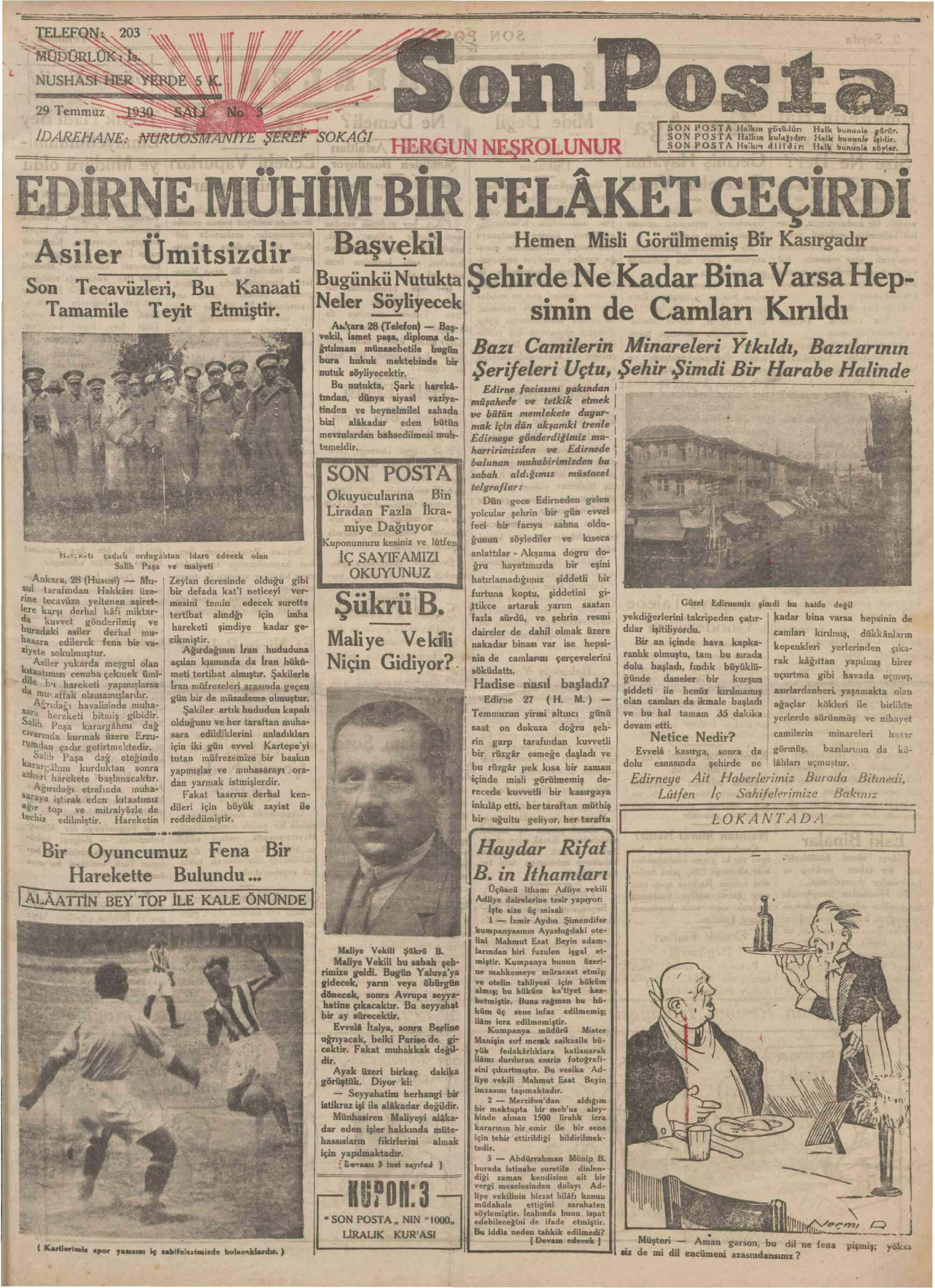 29 Temmuz 1930 Tarihli Son Posta Gazetesi Sayfa 1