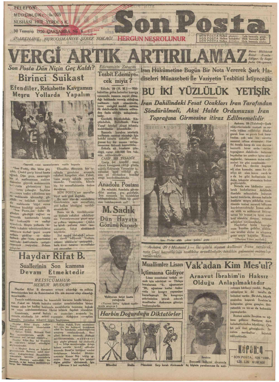 30 Temmuz 1930 Tarihli Son Posta Gazetesi Sayfa 1