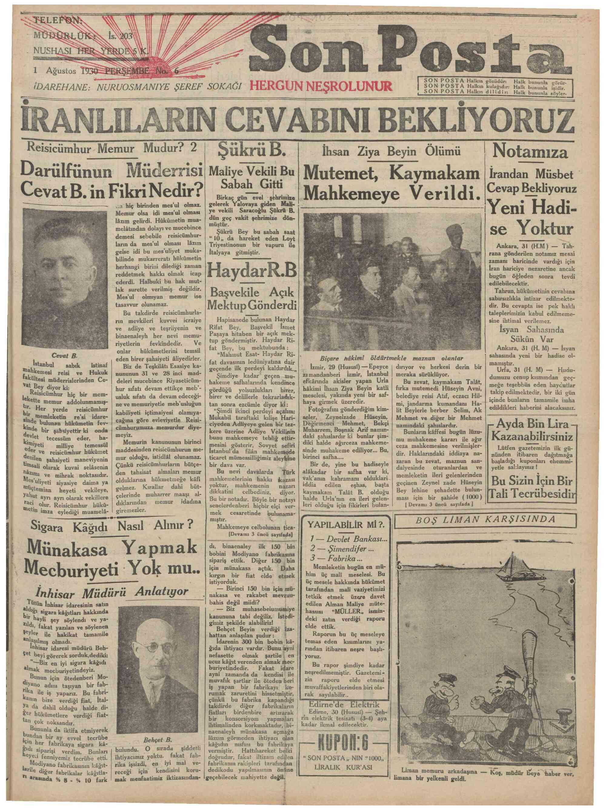 1 Ağustos 1930 Tarihli Son Posta Gazetesi Sayfa 1