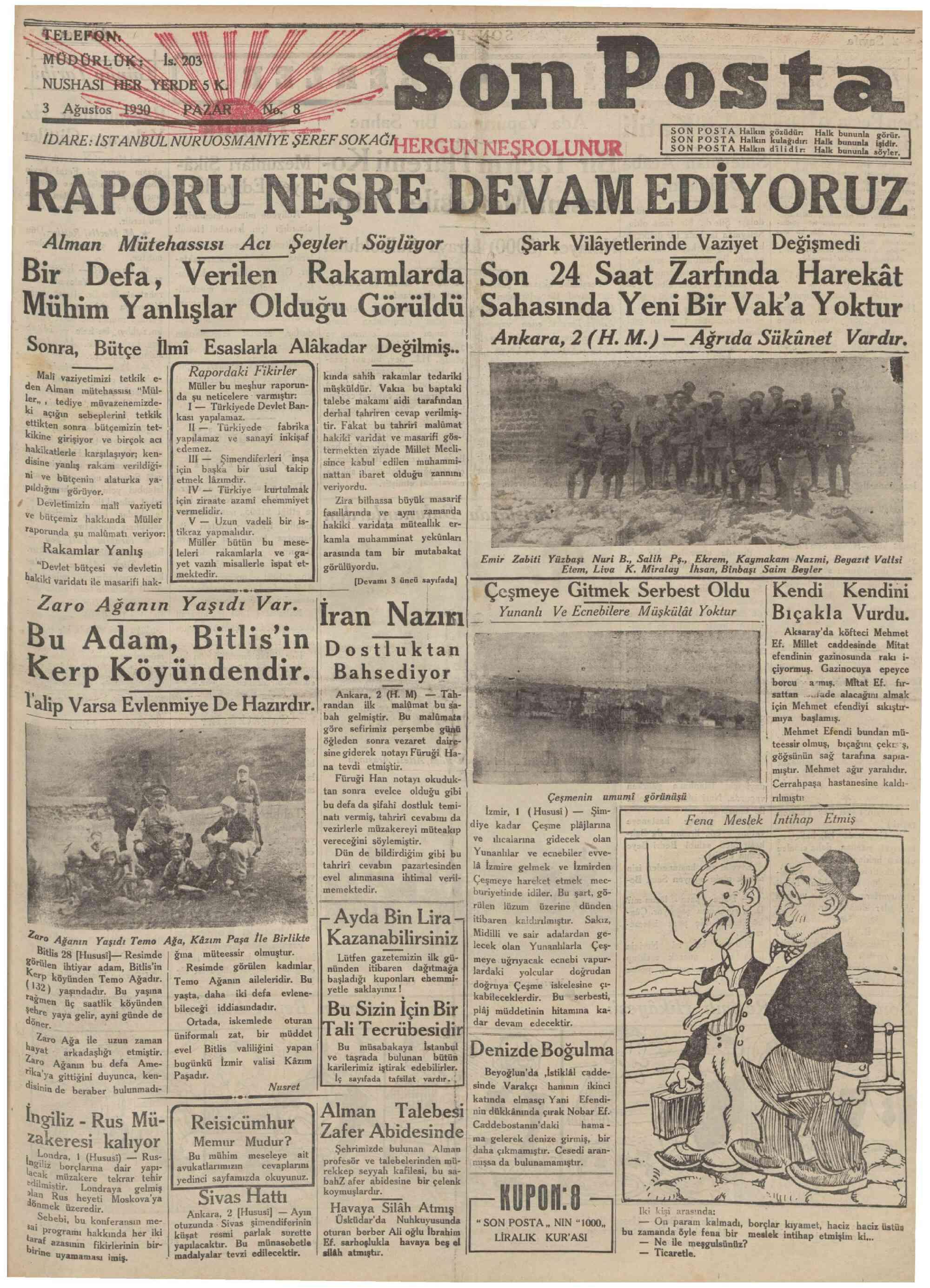 3 Ağustos 1930 Tarihli Son Posta Gazetesi Sayfa 1