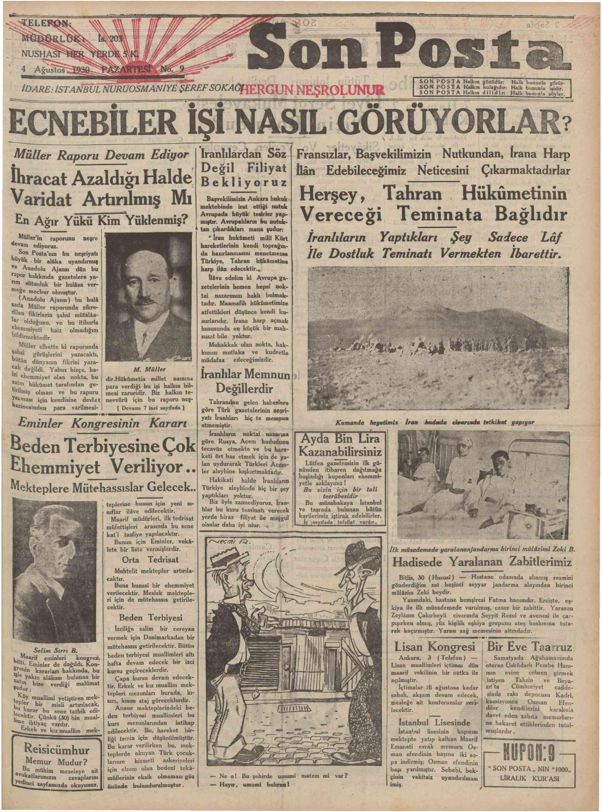 4 Ağustos 1930 Tarihli Son Posta Gazetesi Sayfa 1