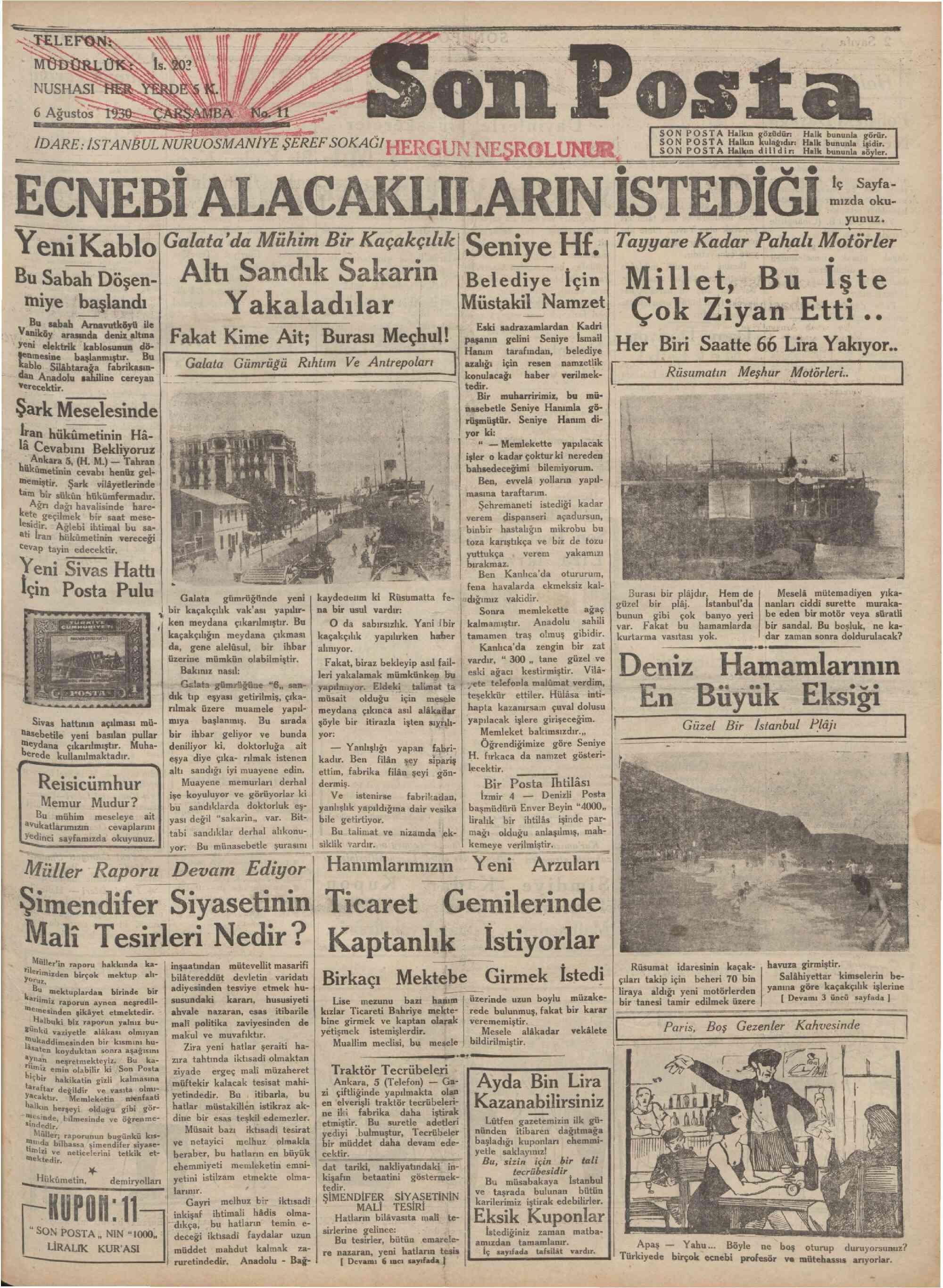 6 Ağustos 1930 Tarihli Son Posta Gazetesi Sayfa 1