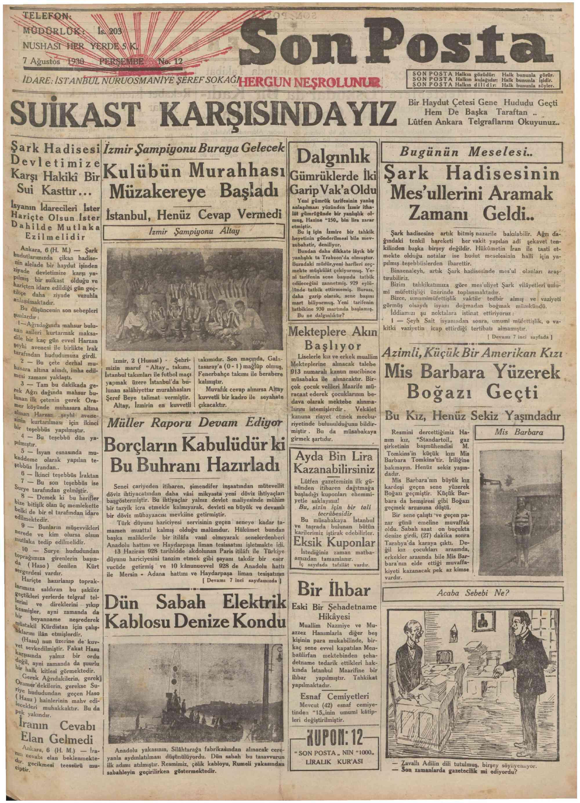 7 Ağustos 1930 Tarihli Son Posta Gazetesi Sayfa 1