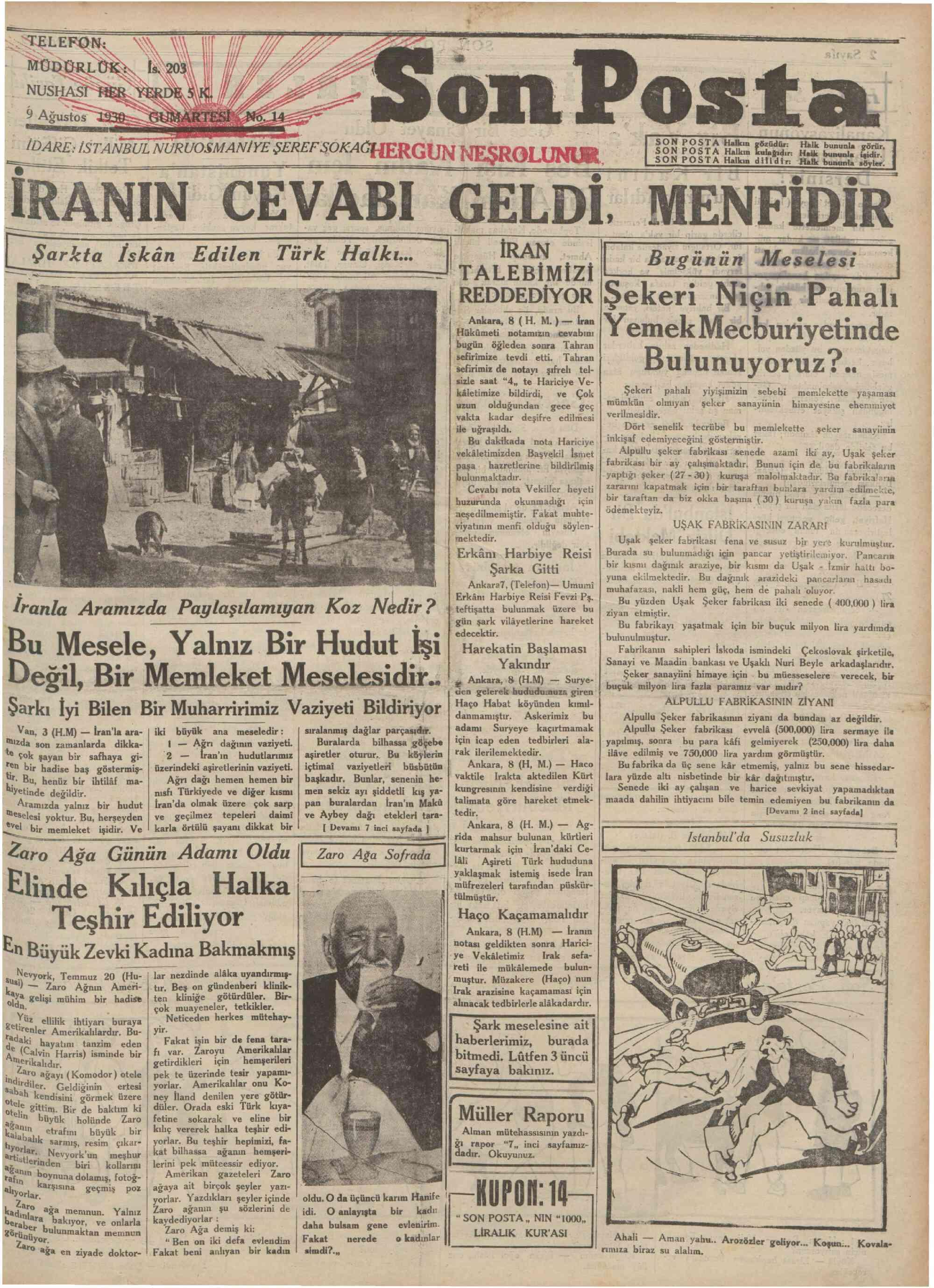 9 Ağustos 1930 Tarihli Son Posta Gazetesi Sayfa 1