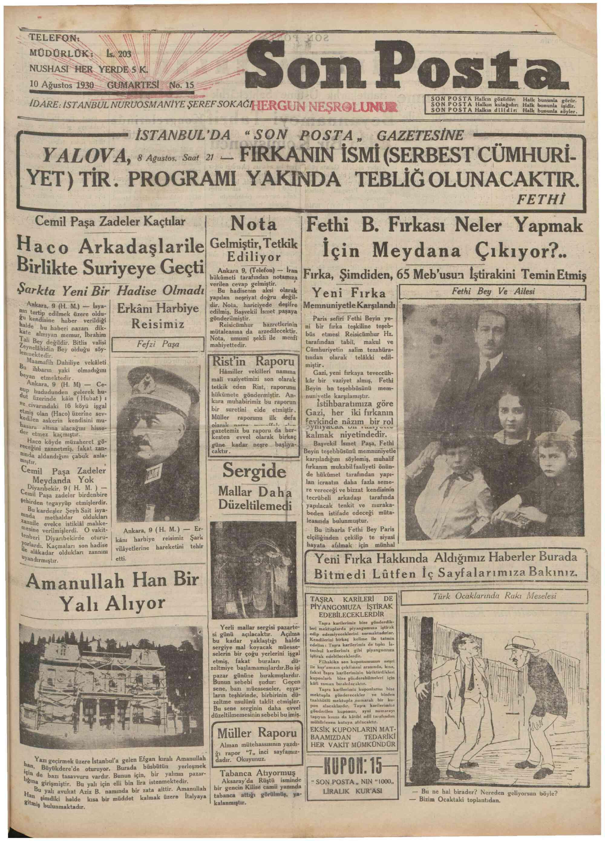 10 Ağustos 1930 Tarihli Son Posta Gazetesi Sayfa 1