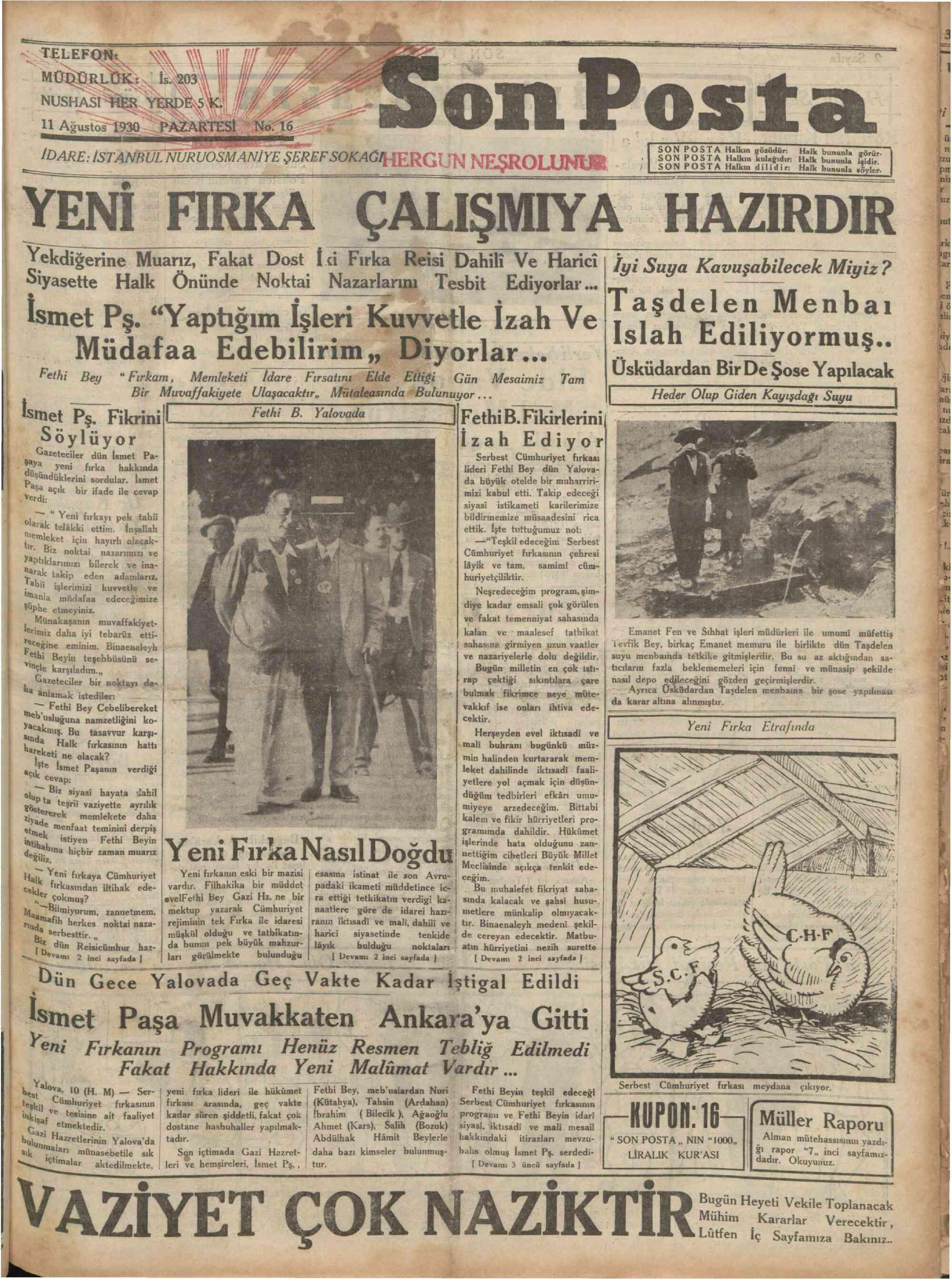 11 Ağustos 1930 Tarihli Son Posta Gazetesi Sayfa 1