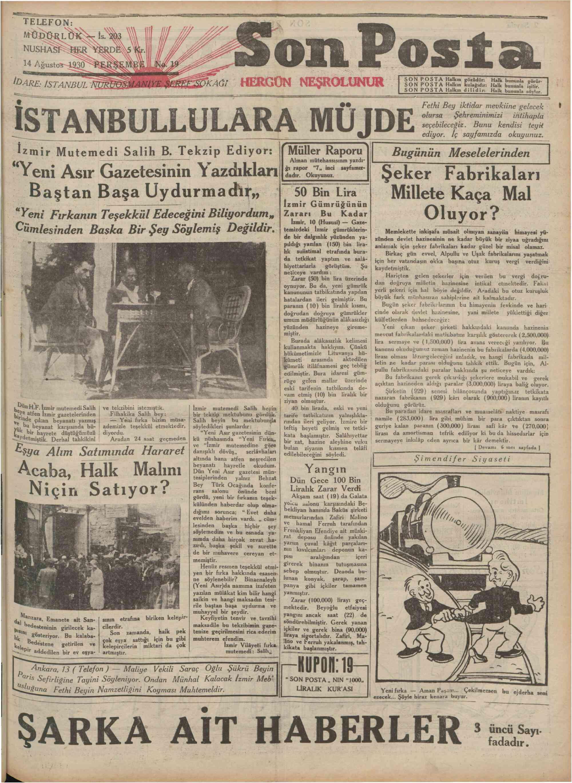 14 Ağustos 1930 Tarihli Son Posta Gazetesi Sayfa 1