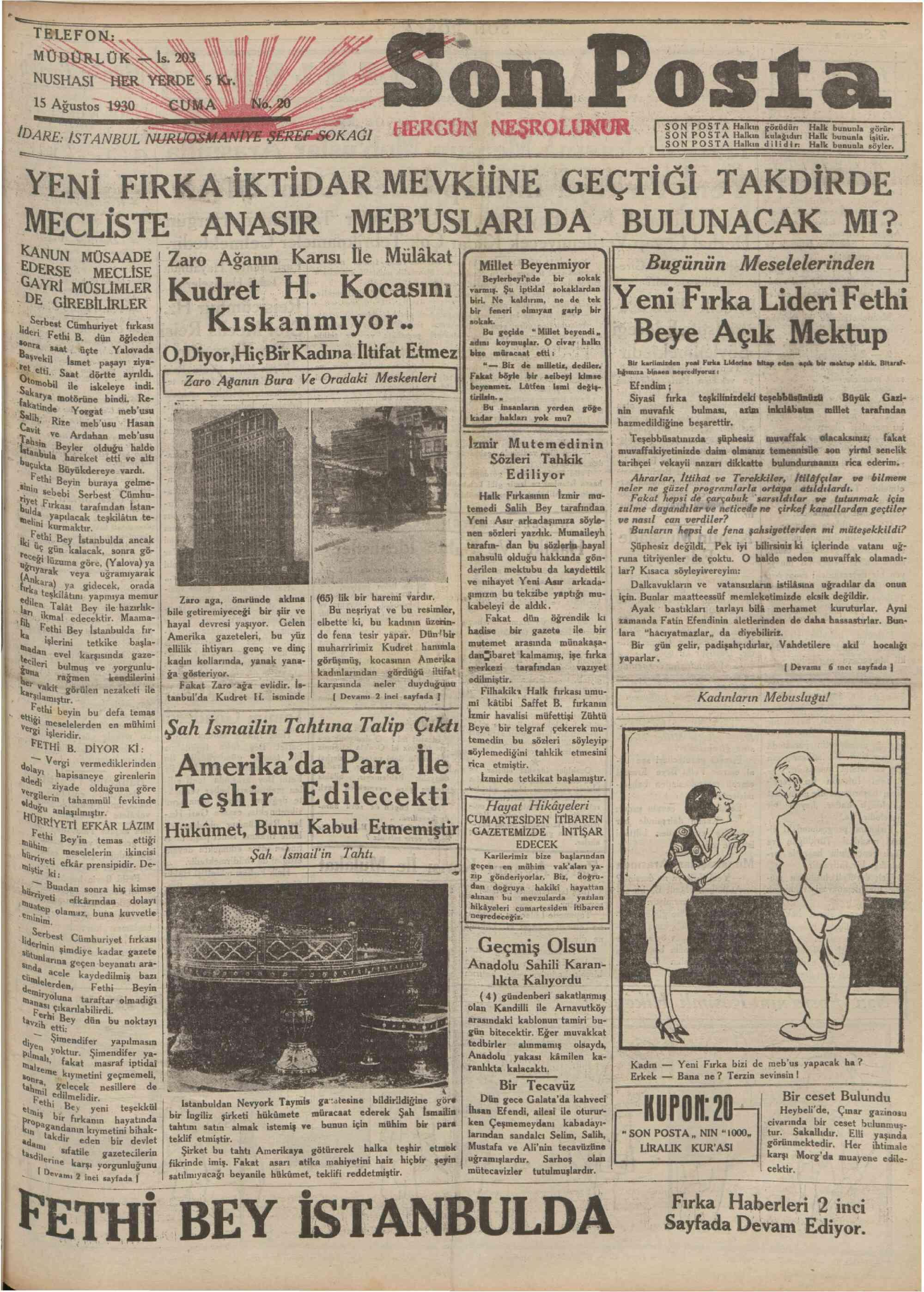 15 Ağustos 1930 Tarihli Son Posta Gazetesi Sayfa 1