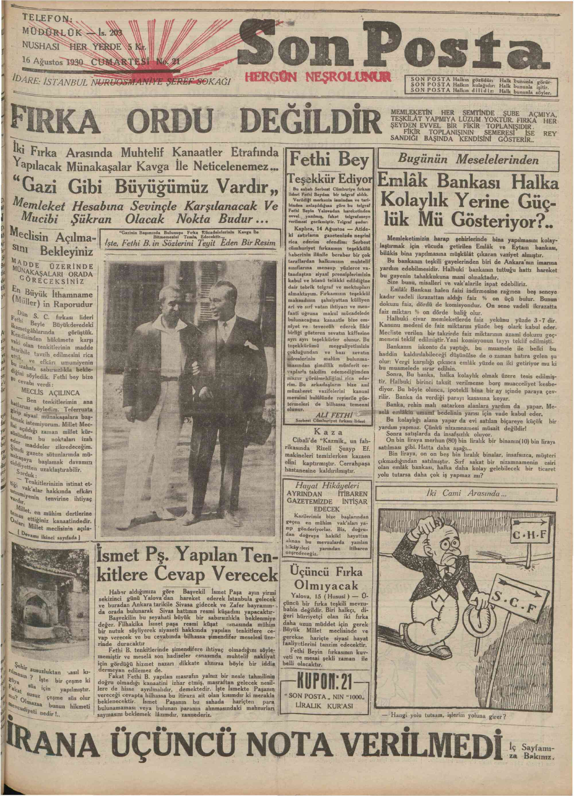 16 Ağustos 1930 Tarihli Son Posta Gazetesi Sayfa 1