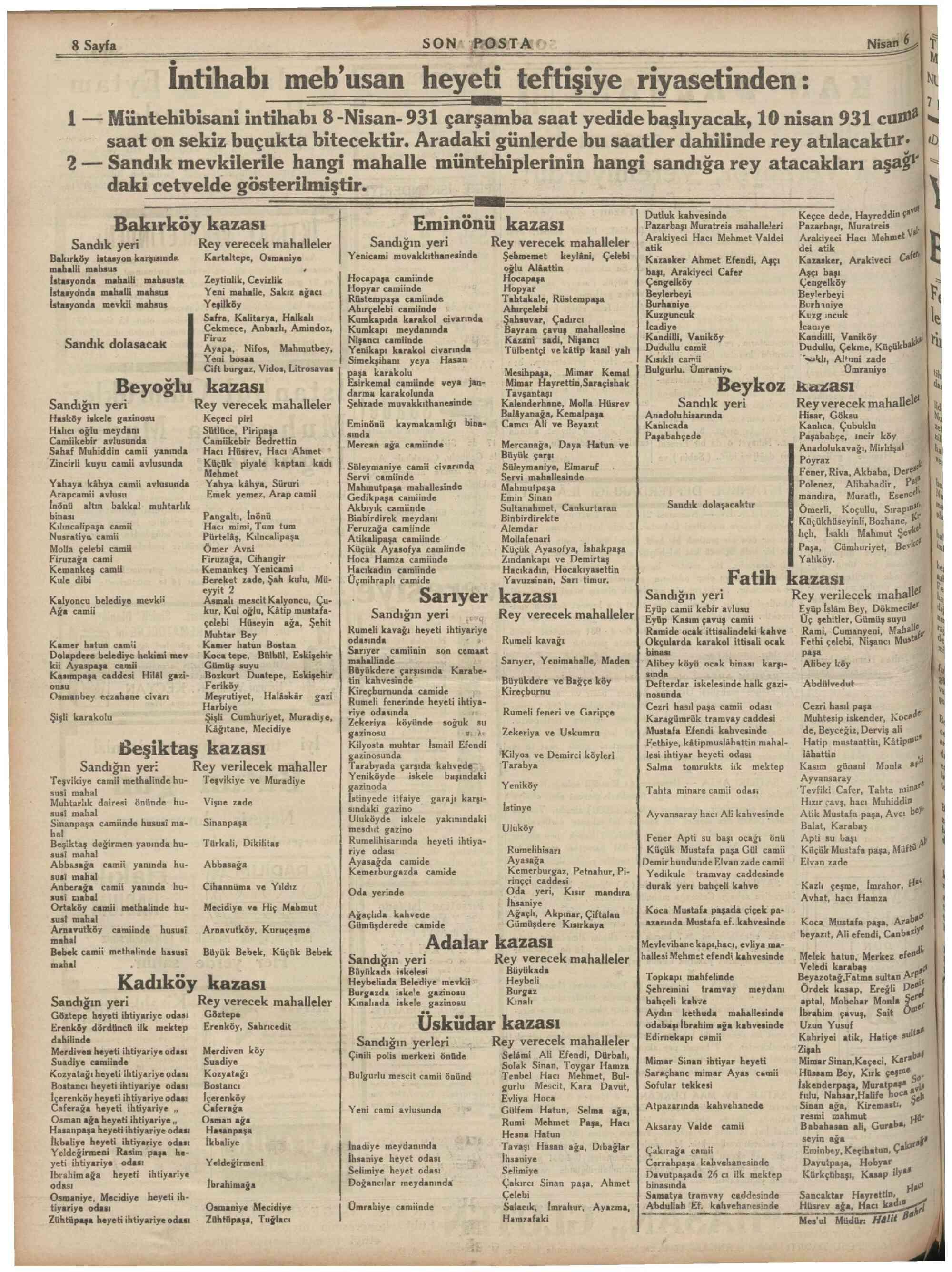 6 Nisan 1931 Tarihli Son Posta Dergisi Sayfa 8