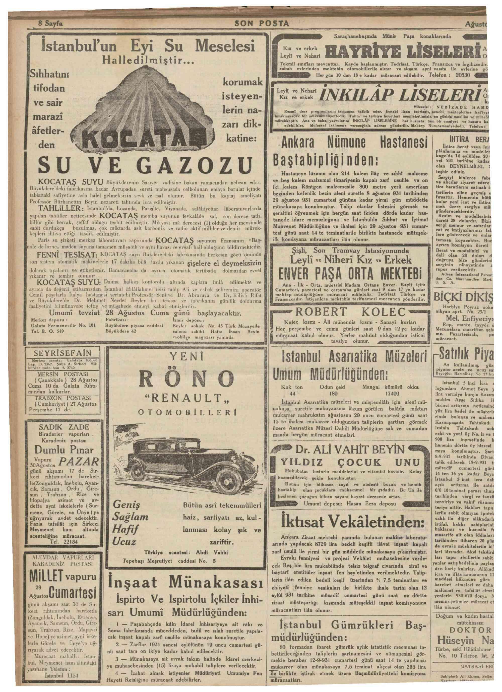 28 Ağustos 1931 Tarihli Son Posta Dergisi Sayfa 8