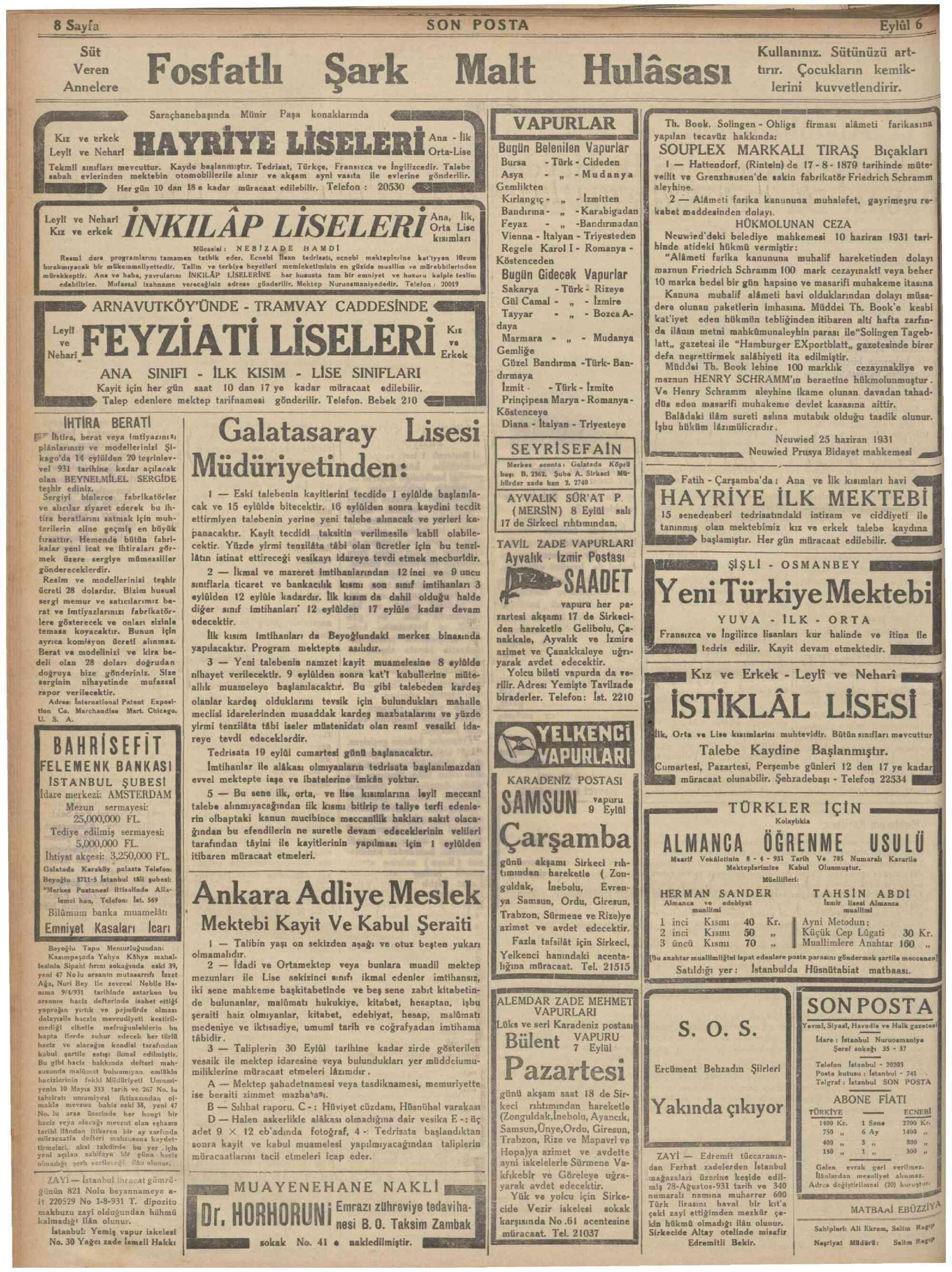 6 Eylül 1931 Tarihli Son Posta Dergisi Sayfa 8