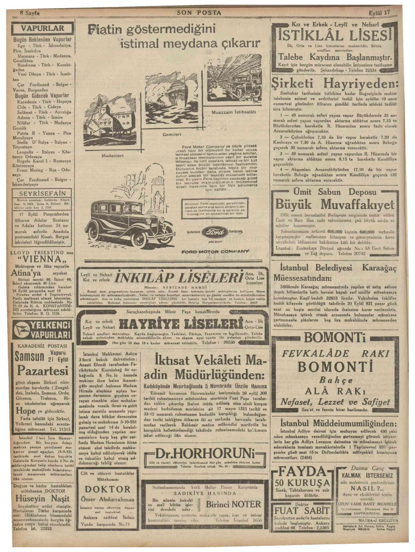17 Eylül 1931 Tarihli Son Posta Dergisi Sayfa 8