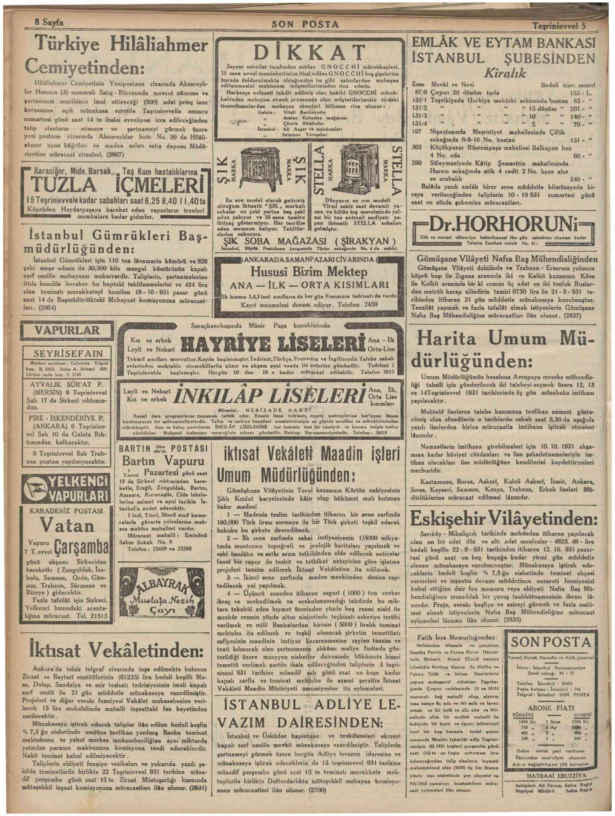 5 Ekim 1931 Tarihli Son Posta Dergisi Sayfa 8