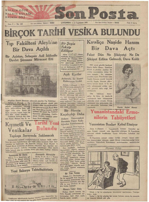 4 Kasım 1931 tarihli Son Posta Gazetesi Sayfa 1