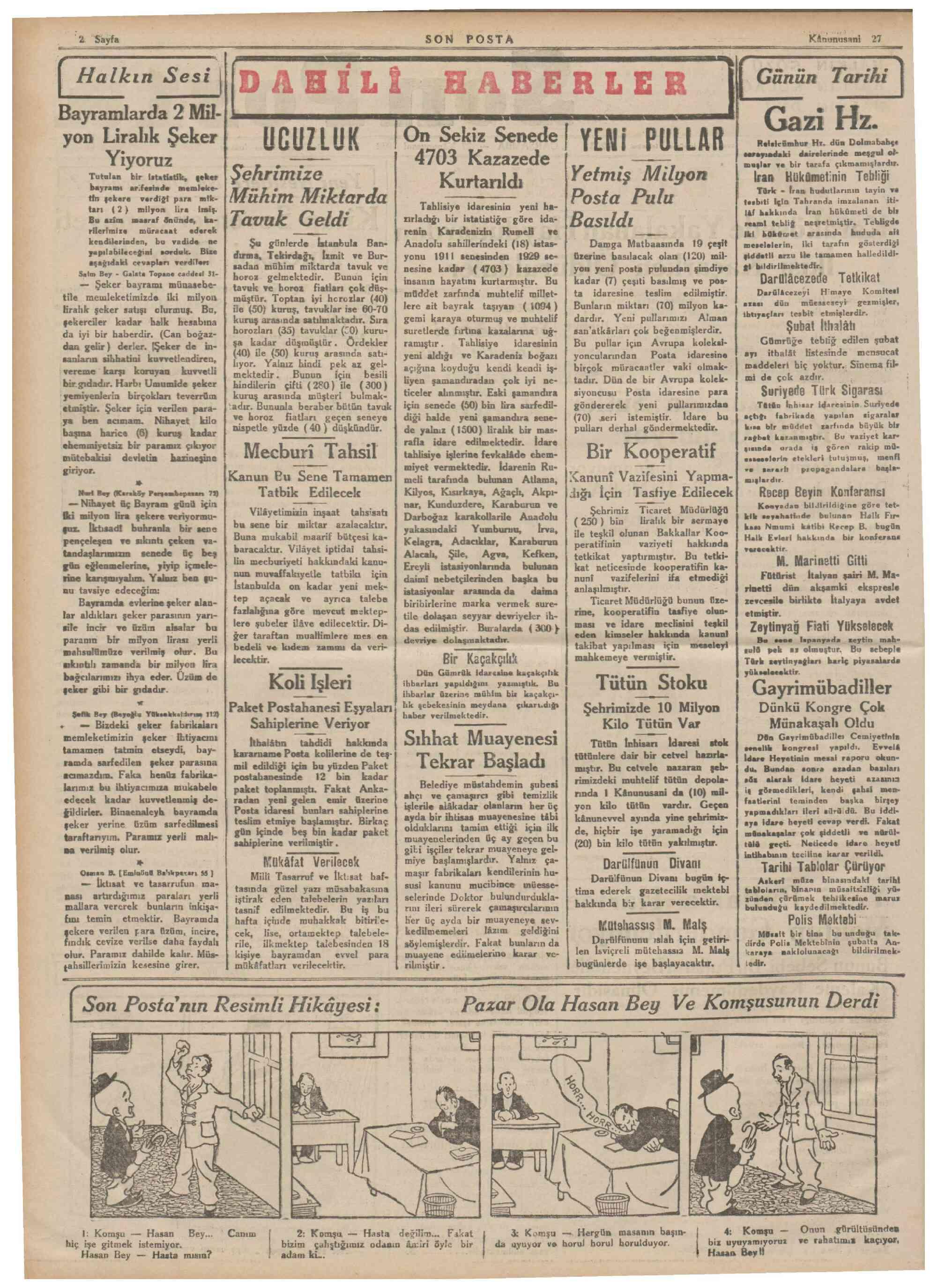27 Ocak 1932 tarihli Son Posta Gazetesi Sayfa 2