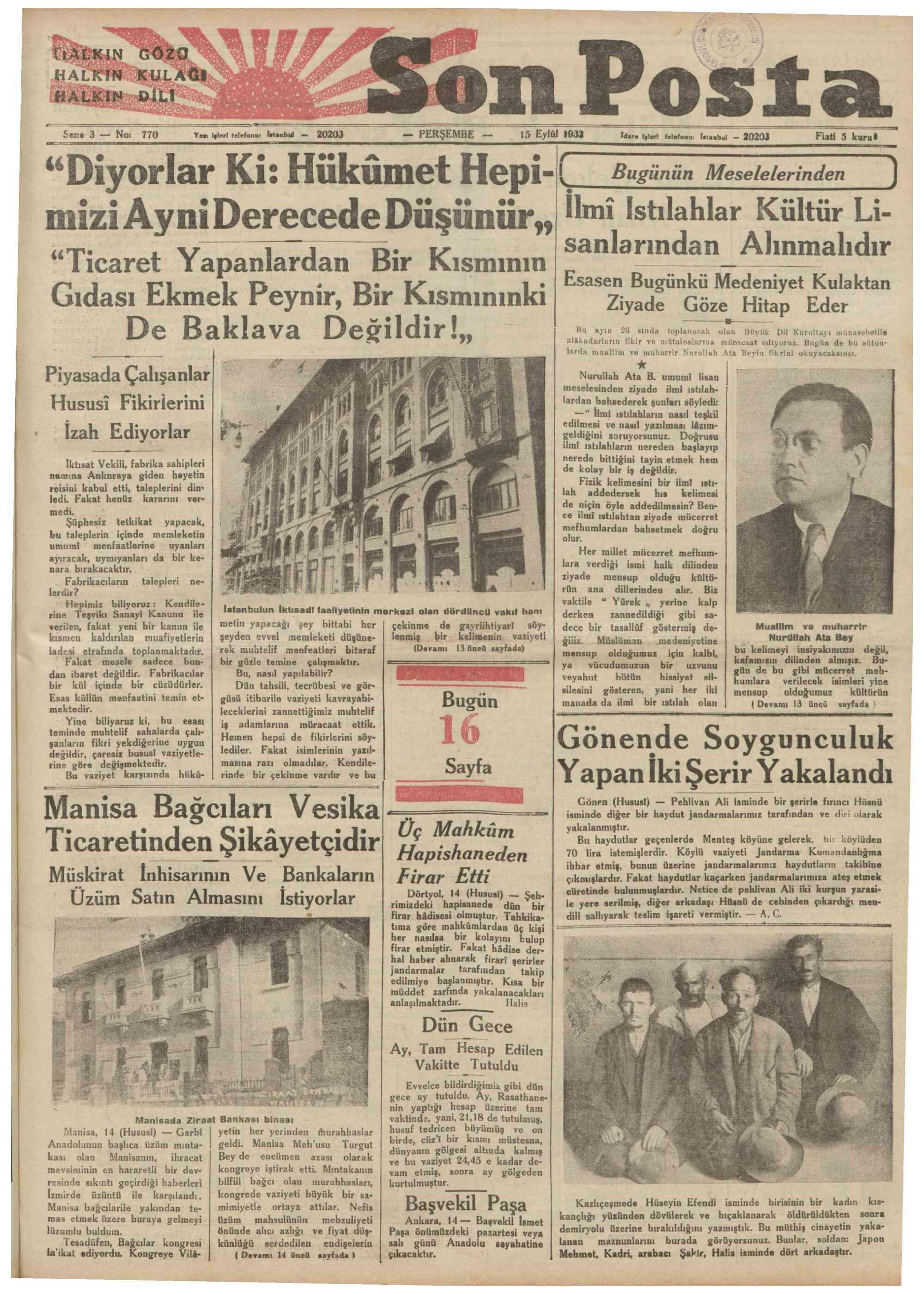 15 Eylül 1932 Tarihli Son Posta Gazetesi Sayfa 1