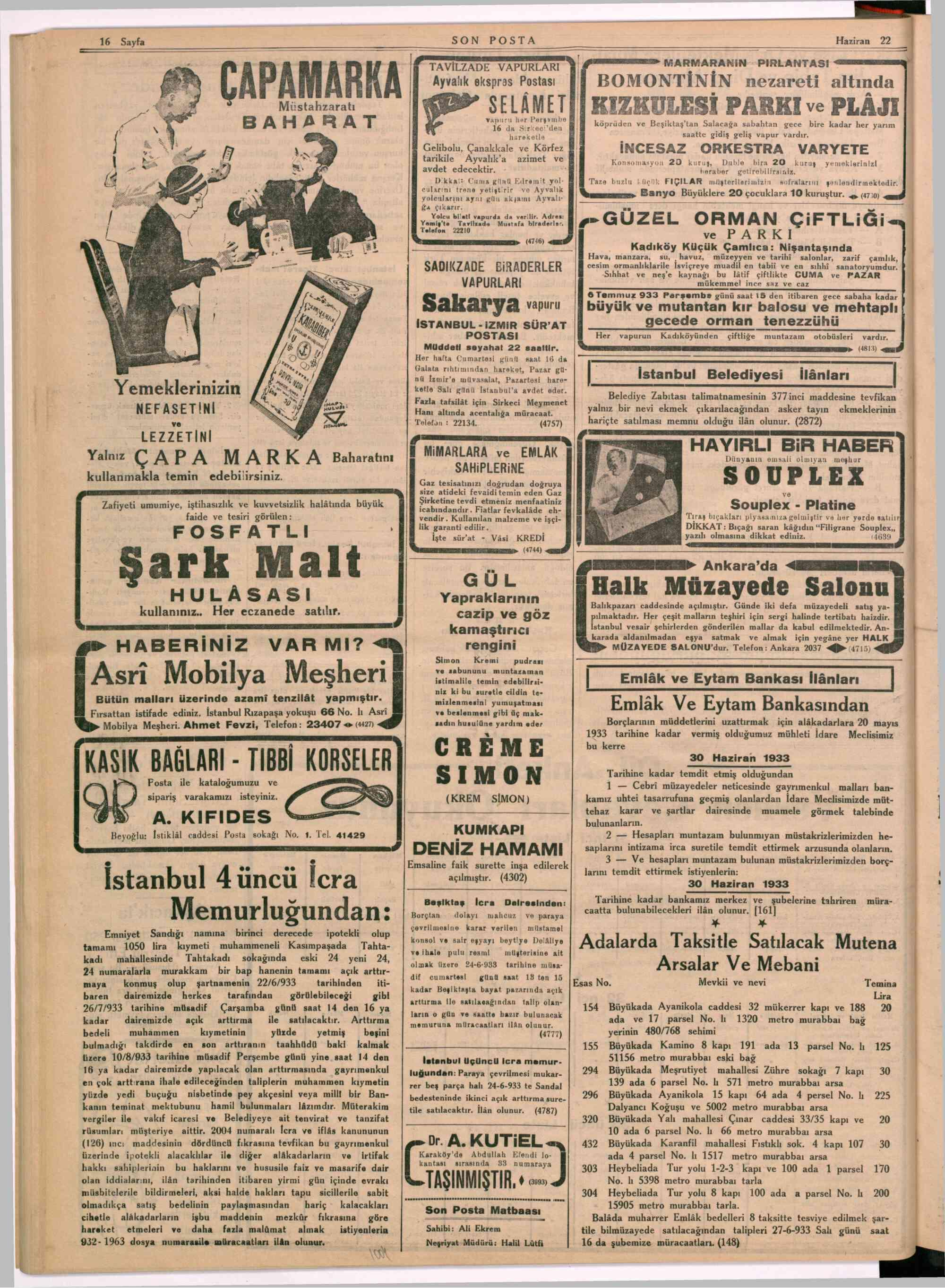 22 Haziran 1933 Tarihli Son Posta Dergisi Sayfa 16