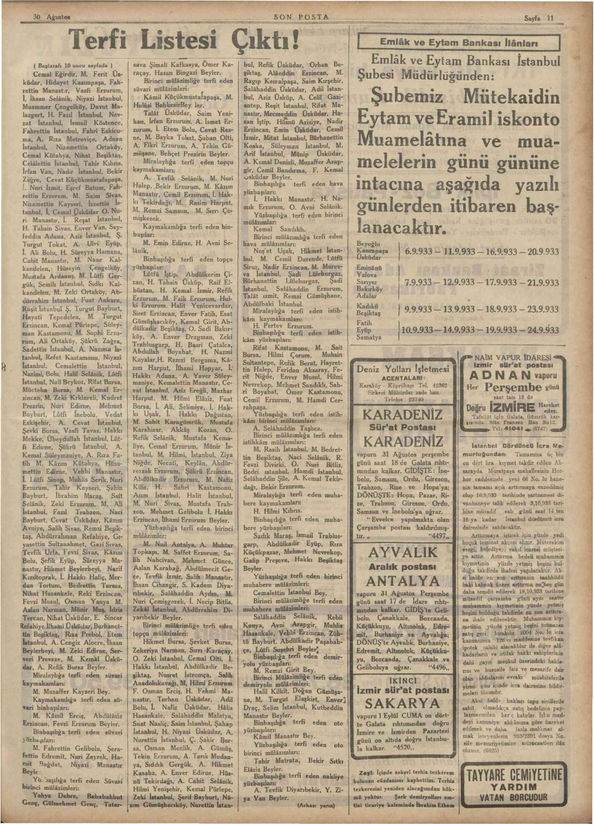 30 Ağustos 1933 Tarihli Son Posta Gazetesi Sayfa 11