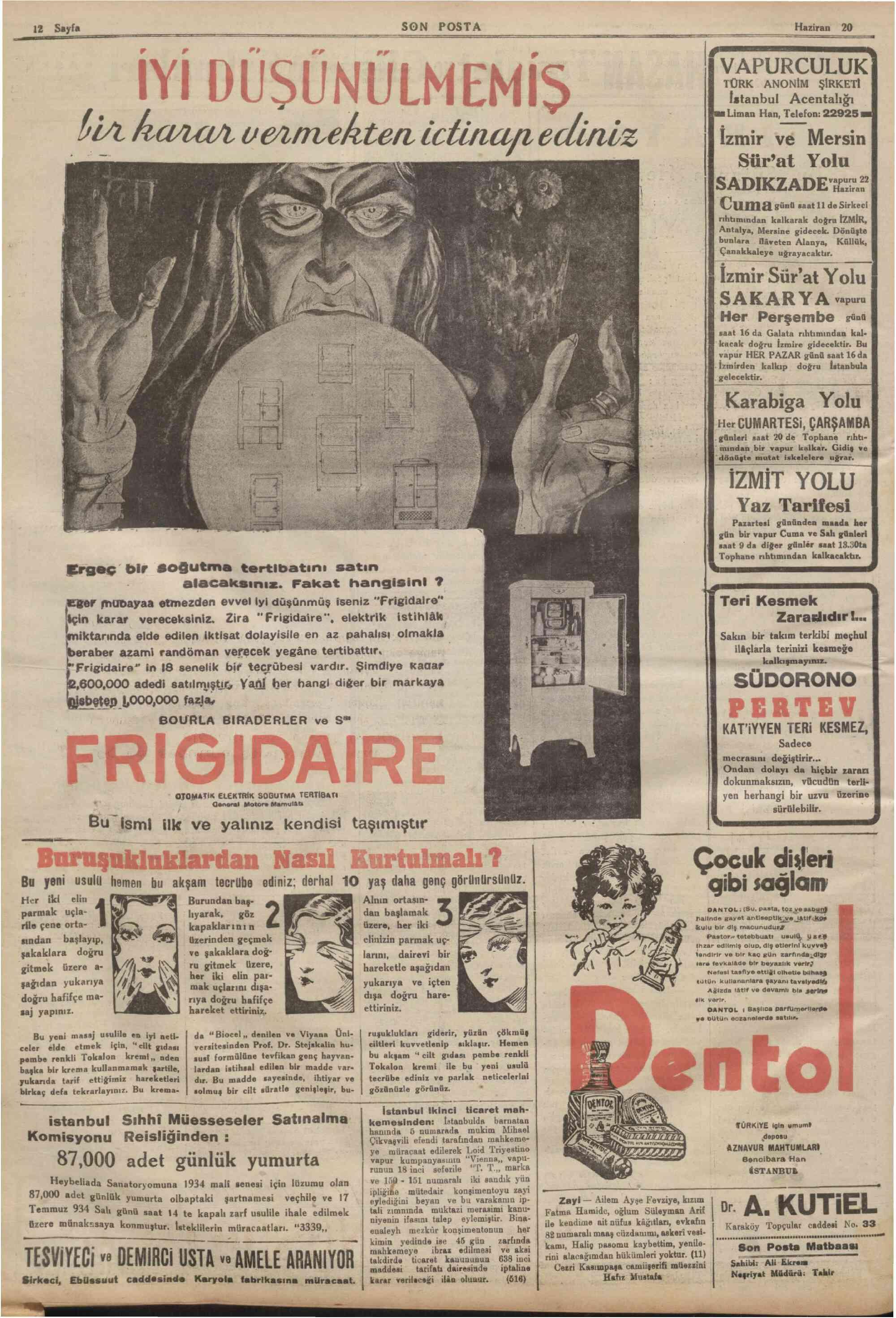 20 Haziran 1934 Tarihli Son Posta Dergisi Sayfa 12