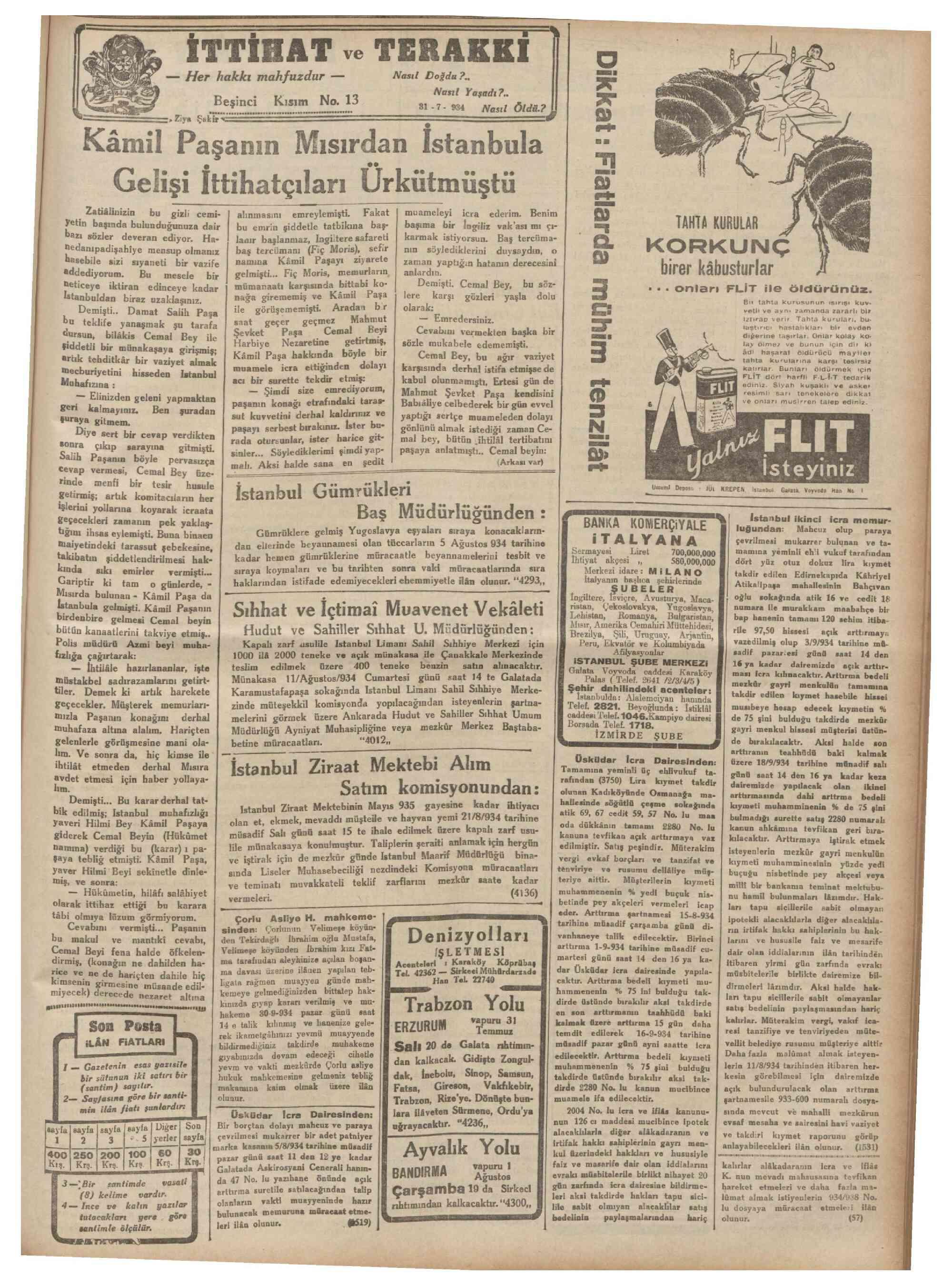 31 Temmuz 1934 Tarihli Son Posta Dergisi Sayfa 9