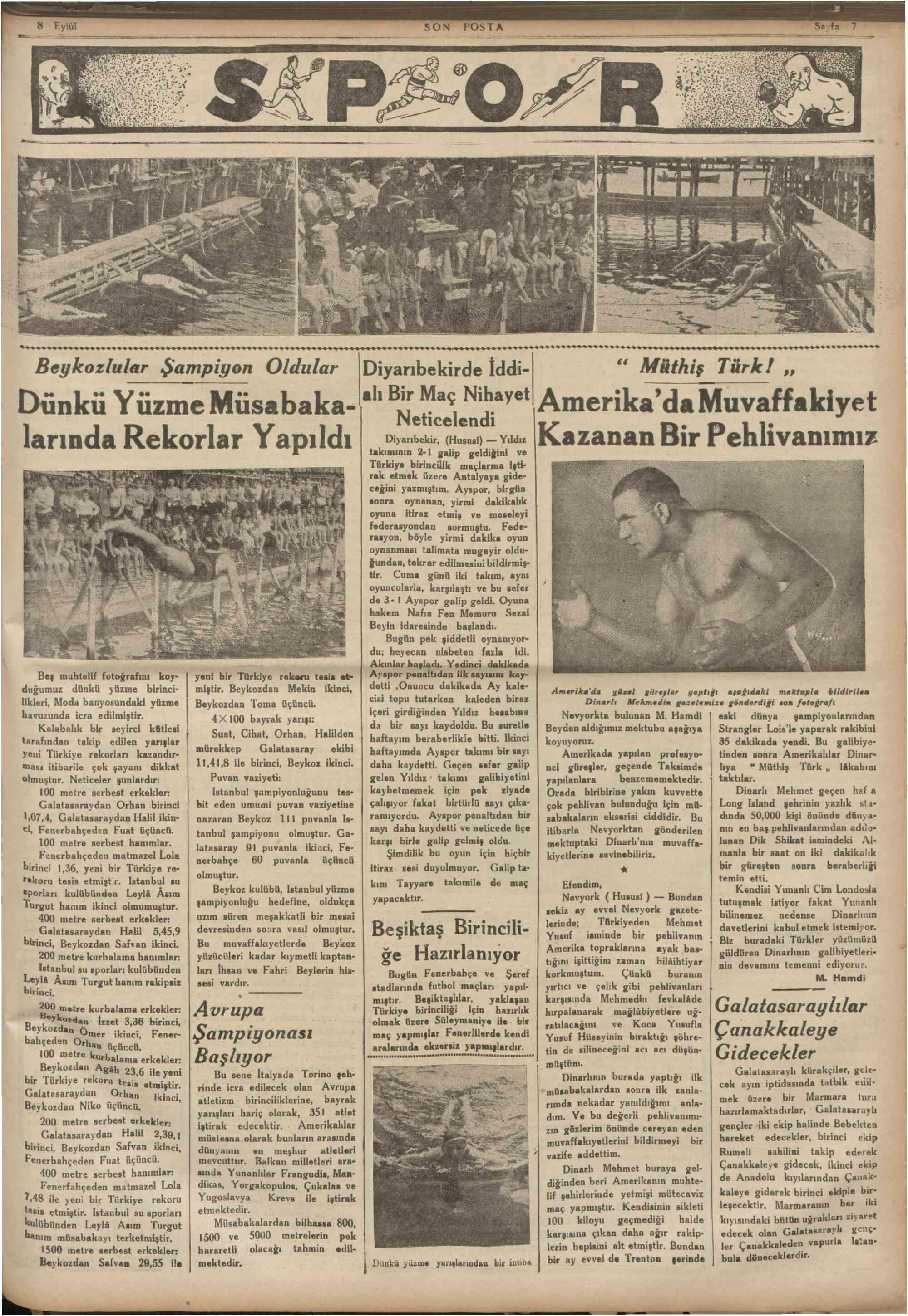 8 Eylül 1934 Tarihli Son Posta Gazetesi Sayfa 7