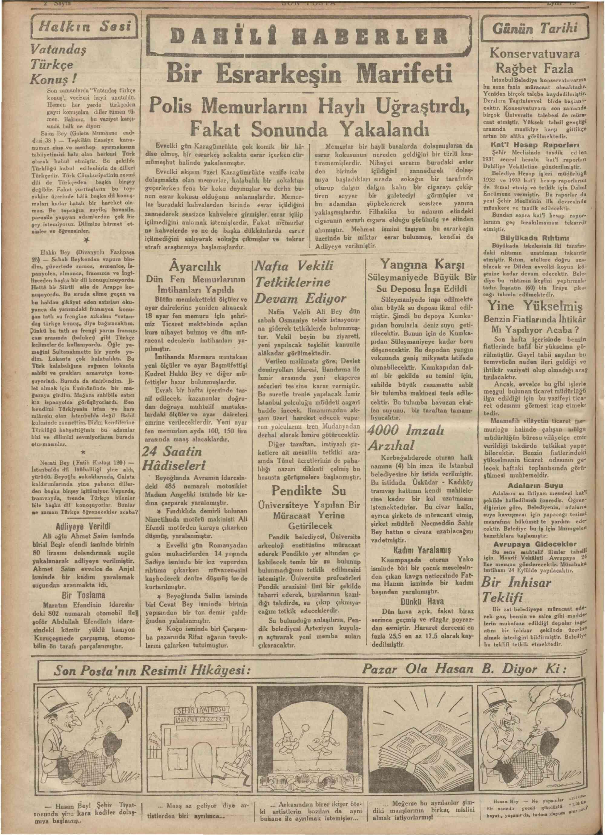 13 Eylül 1934 Tarihli Son Posta Dergisi Sayfa 2