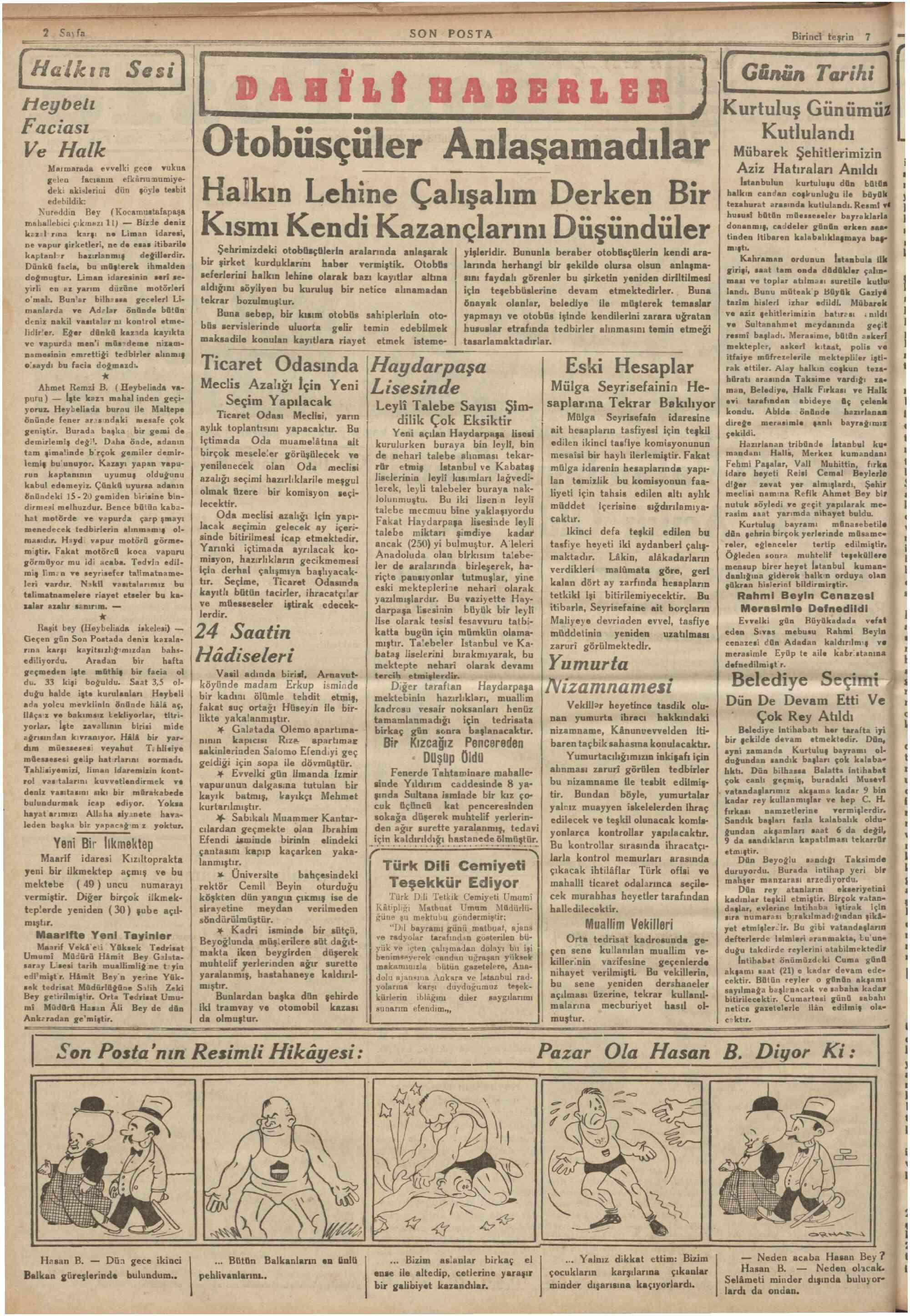 7 Ekim 1934 Tarihli Son Posta Gazetesi Sayfa 2