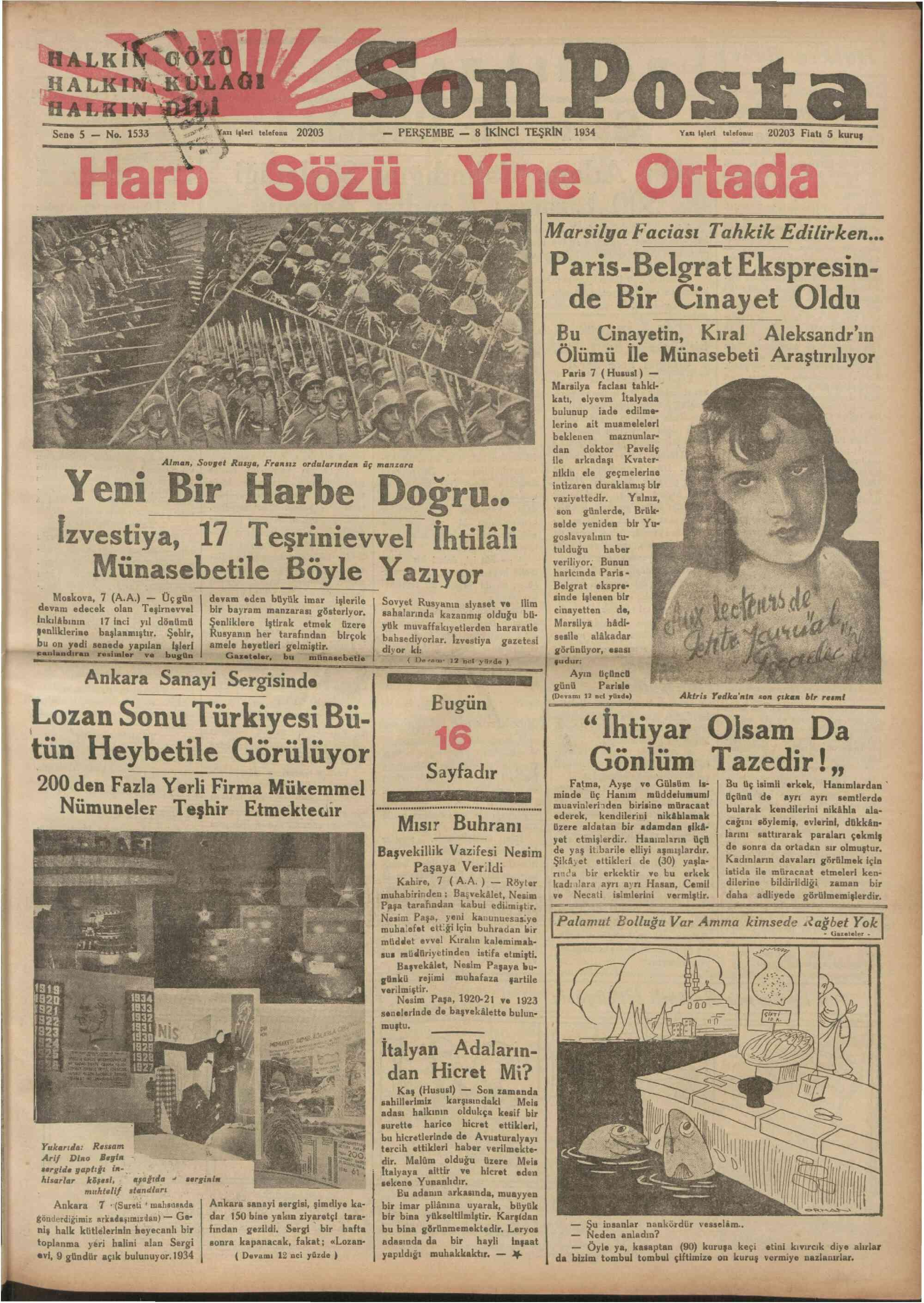 8 Kasım 1934 Tarihli Son Posta Gazetesi Sayfa 1