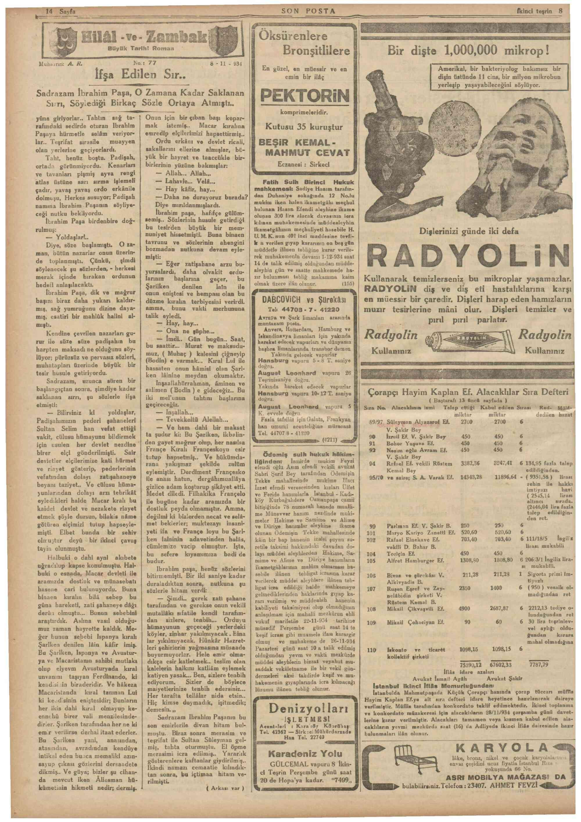 November 8, 1934 Tarihli Son Posta Gazetesi Sayfa 14