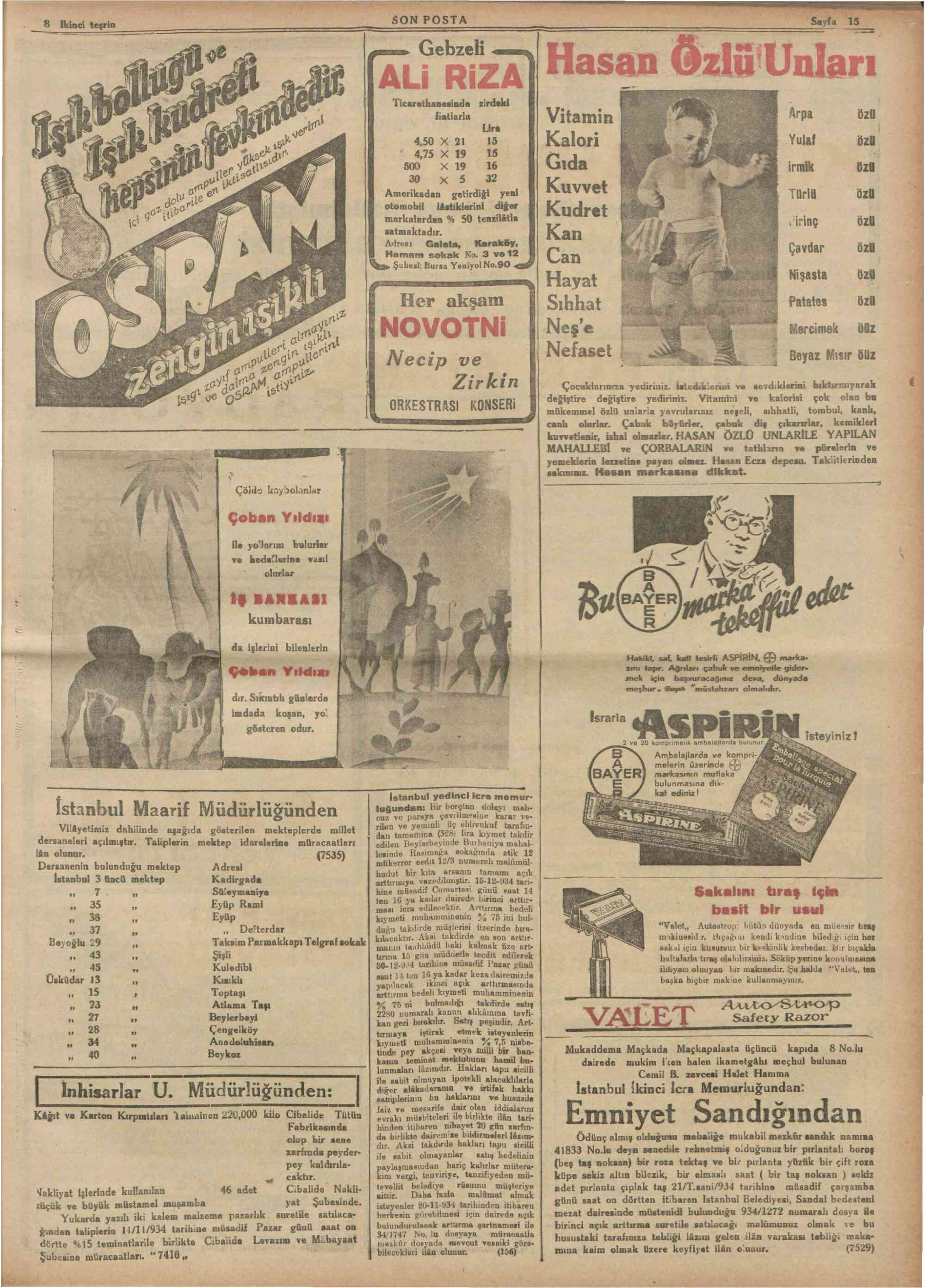 8 Kasım 1934 Tarihli Son Posta Gazetesi Sayfa 15