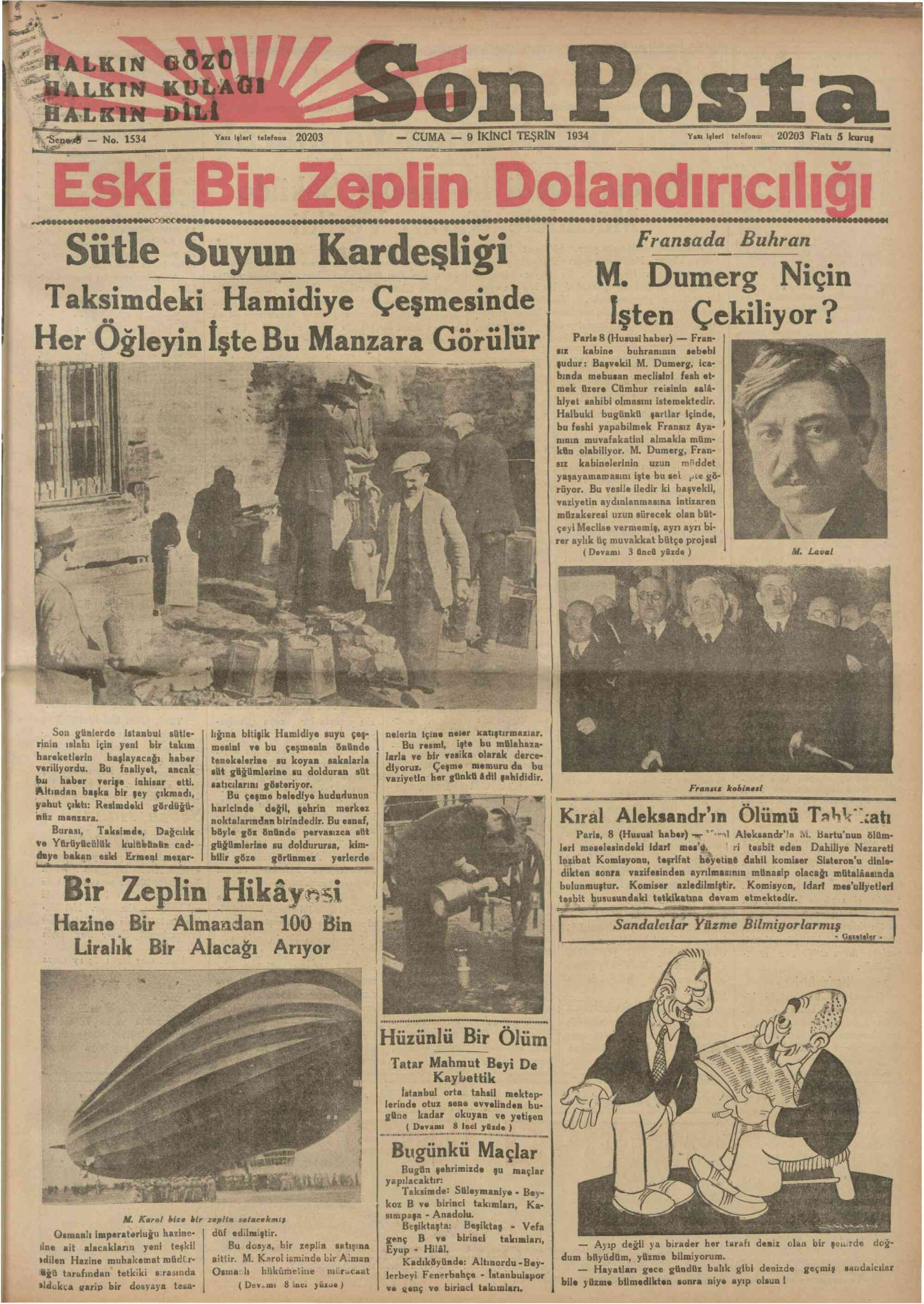 9 Kasım 1934 Tarihli Son Posta Dergisi Sayfa 1