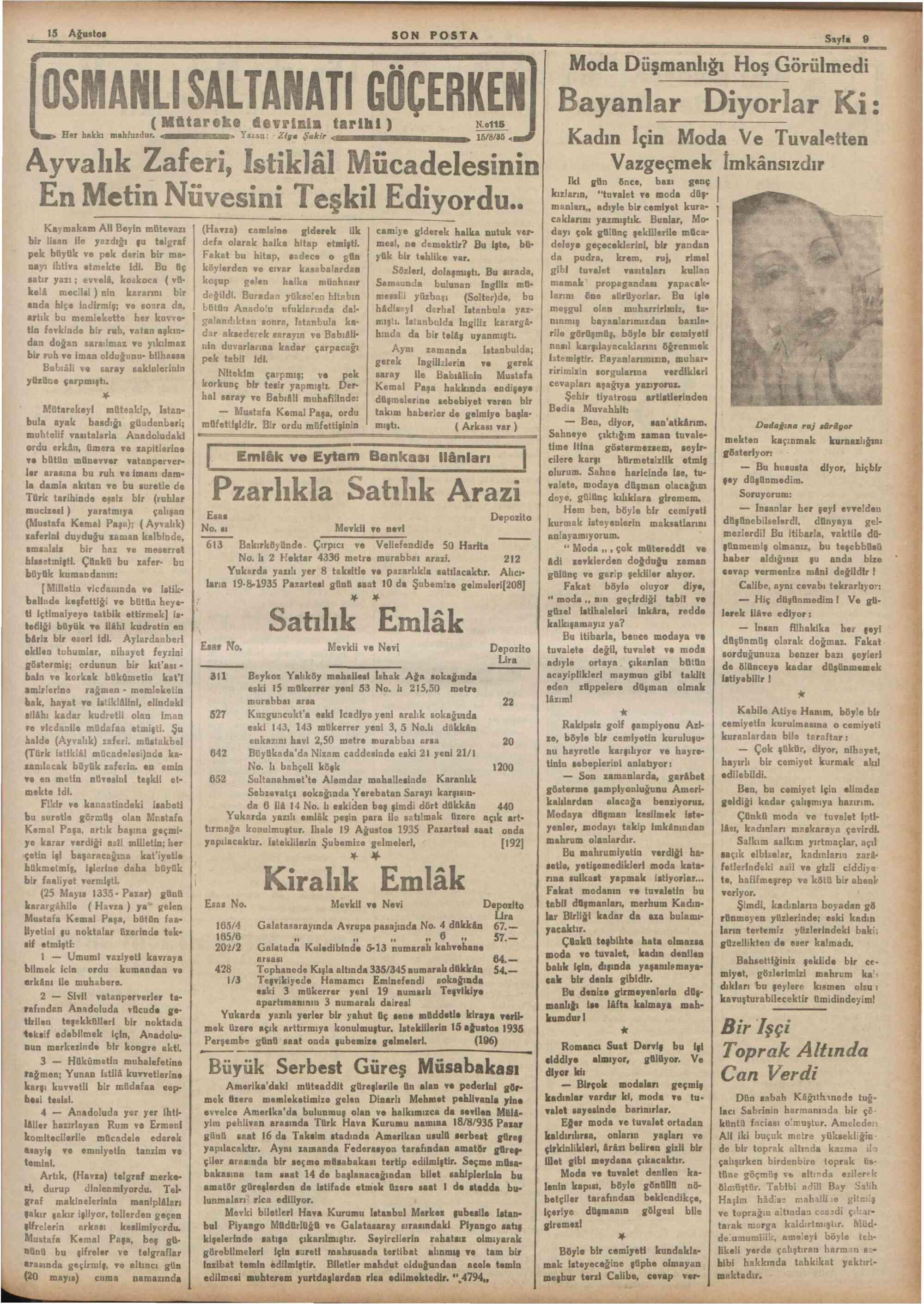 15 Ağustos 1935 Tarihli Son Posta Dergisi Sayfa 9