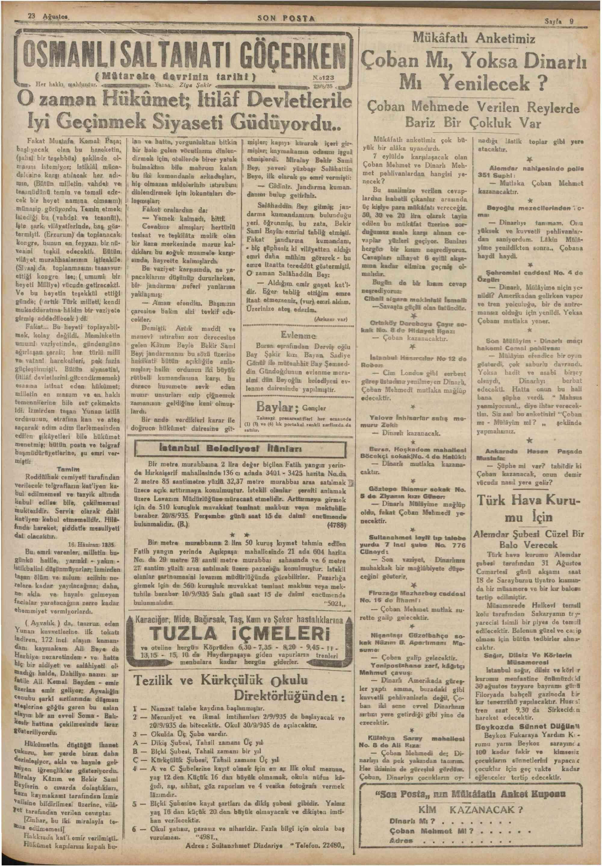 23 Ağustos 1935 Tarihli Son Posta Dergisi Sayfa 5