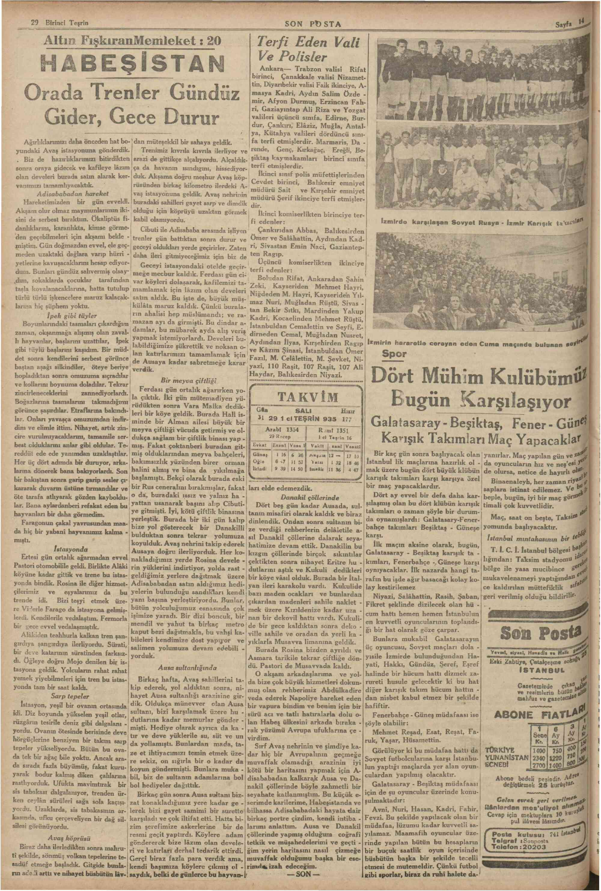 29 Ekim 1935 Tarihli Son Posta Dergisi Sayfa 14