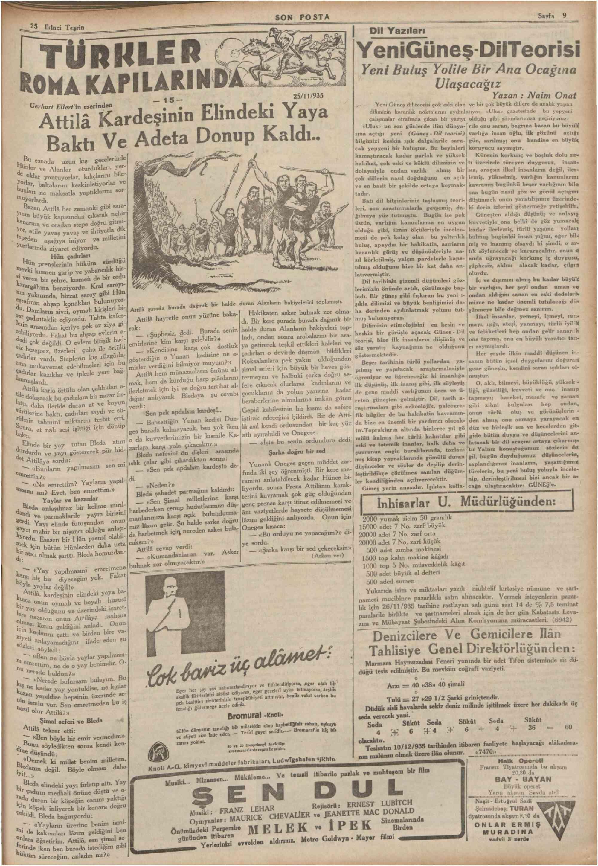 25 Kasım 1935 Tarihli Son Posta Gazetesi Sayfa 9